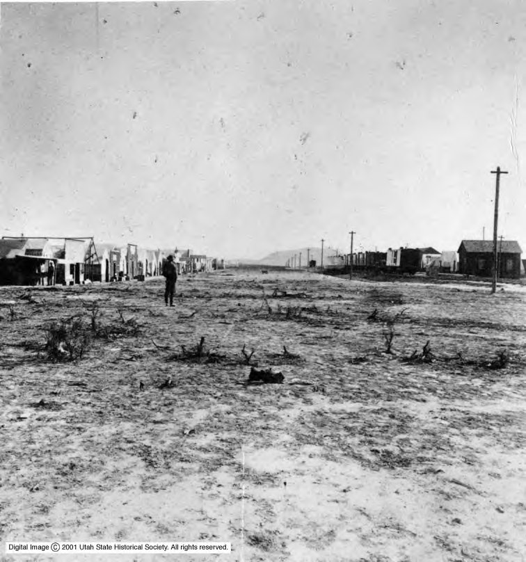 The short-lived town that sprang up at Promontory, Utah, is photographed during the completion of the transcontinental railroad.