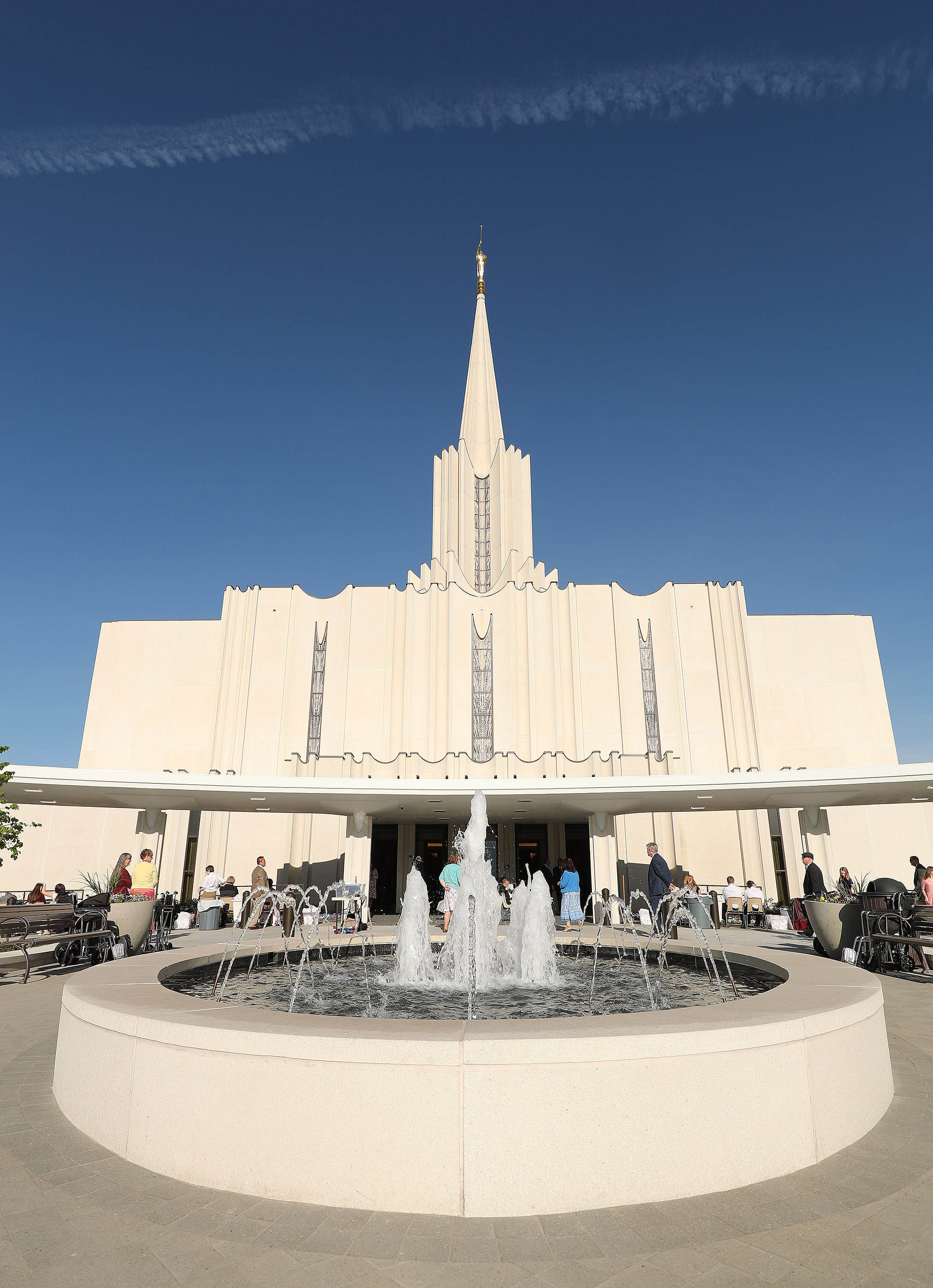 Attendees arrive for the Jordan River Utah Temple rededication in South Jordan on Sunday, May 20, 2018.