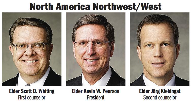 North America Northwest/West Area presidency: Elder Kevin W. Pearson, Elder Scott D. Whiting and Elder Jörg Klebingat.