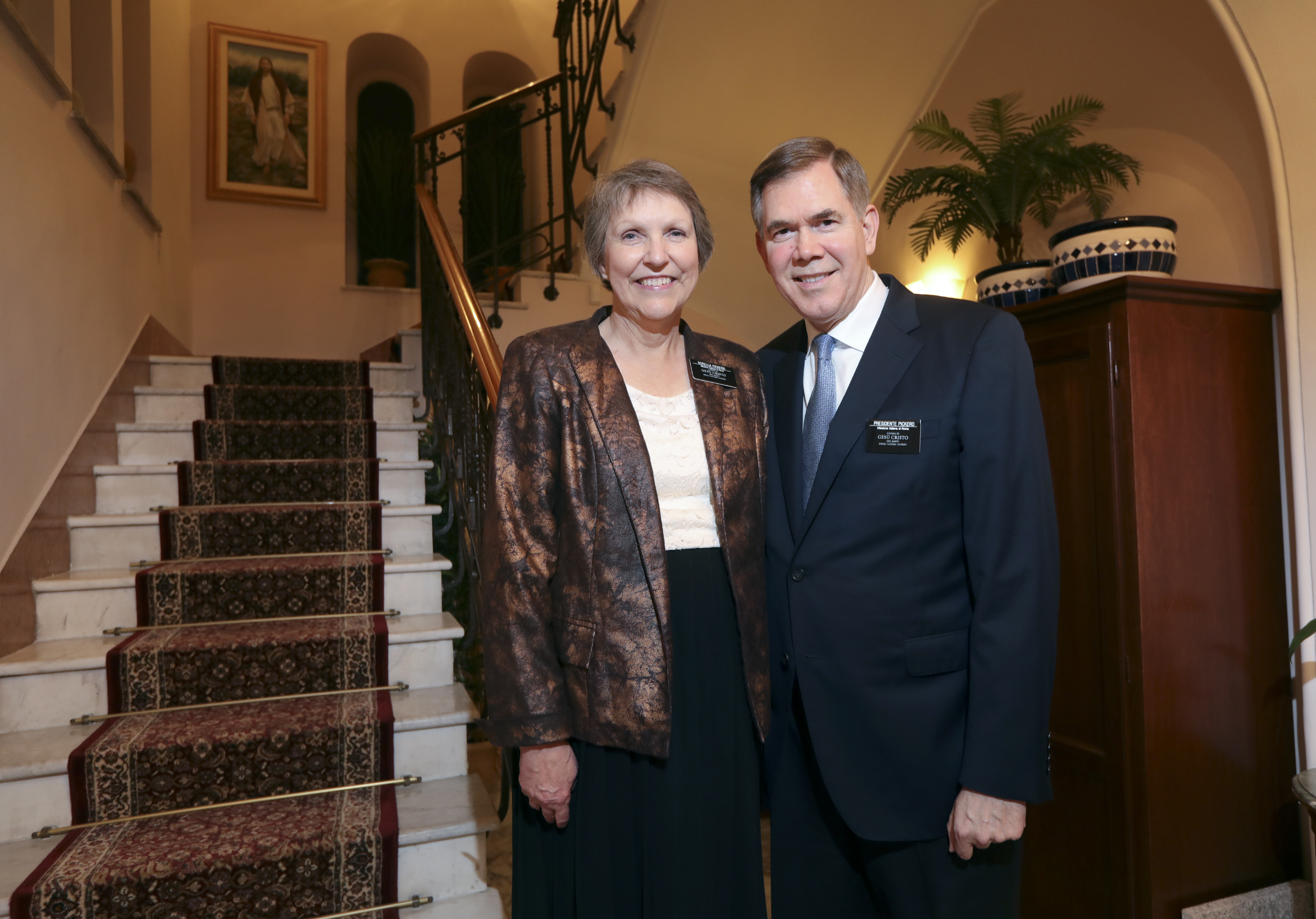 Sister Marian W. Pickerd and President Michael D. Pickerd, pose for a portrait at the mission home in Rome, Italy, on Friday, Nov. 16, 2018.