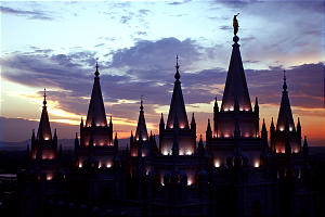 The Spires of the Salt Lake Temple rise into the sky Thursday night July 18, 2002.