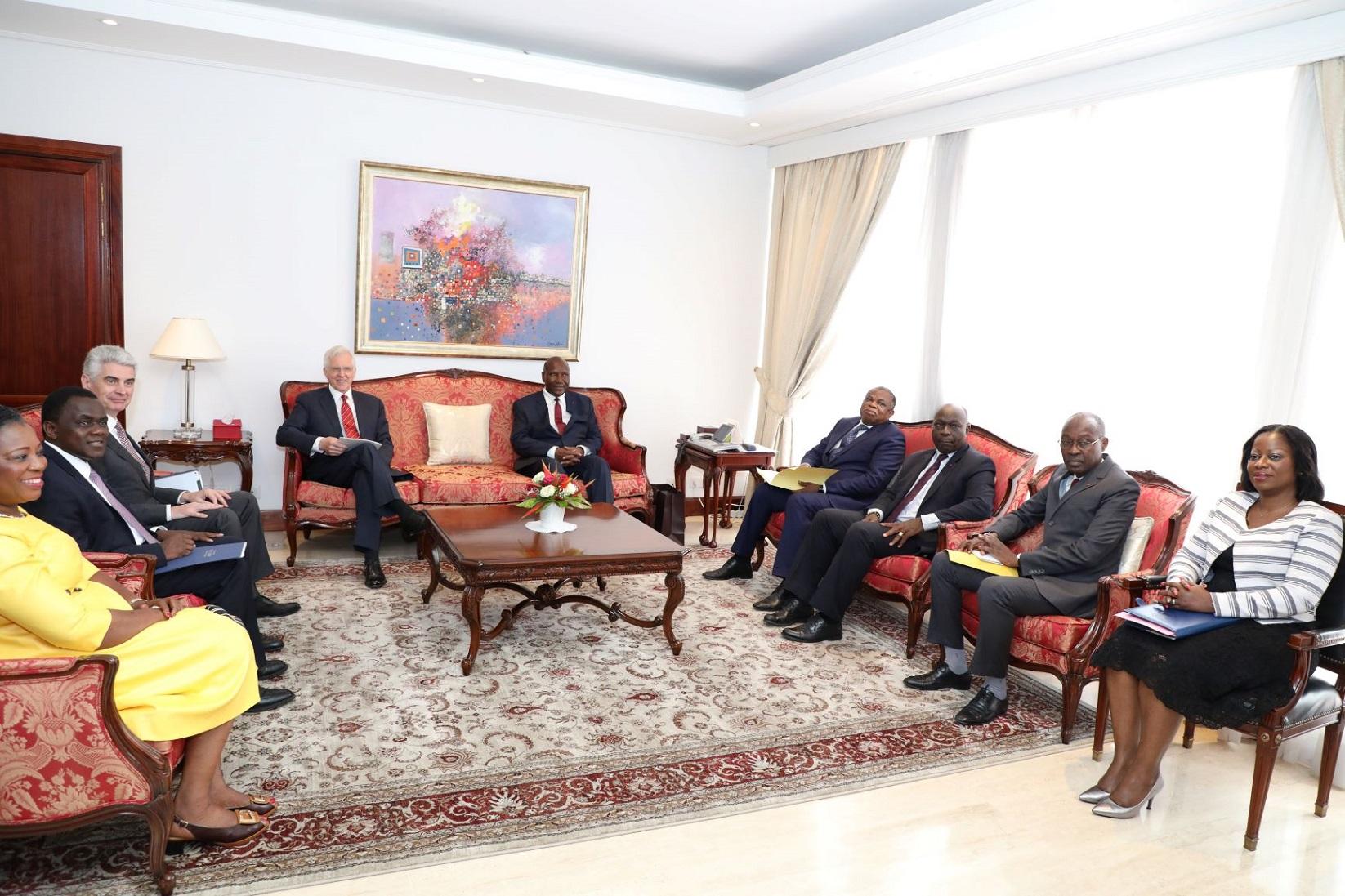 Elder D. Todd Christofferson and Bishop Gérald Caussé meet with Cote d'Ivoire Vice President Daniel K. Duncan and other government officials in Abidjan on May 31, 2019.
