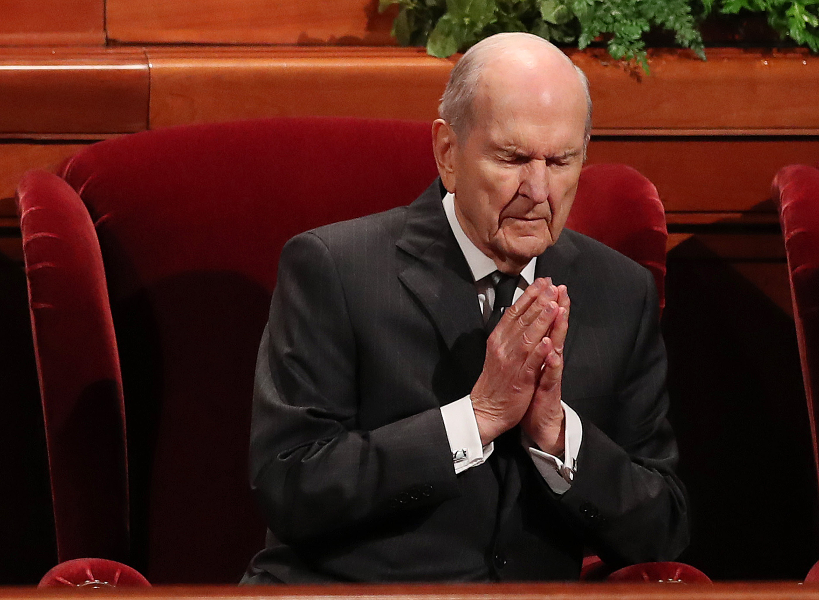 President Russell M. Nelson of The Church of Jesus Christ of Latter-day Saints, listens to the opening prayer during the 188th Semiannual General Conference of The Church of Jesus Christ of Latter-day Saints in Salt Lake City on Saturday, Oct. 6, 2018.