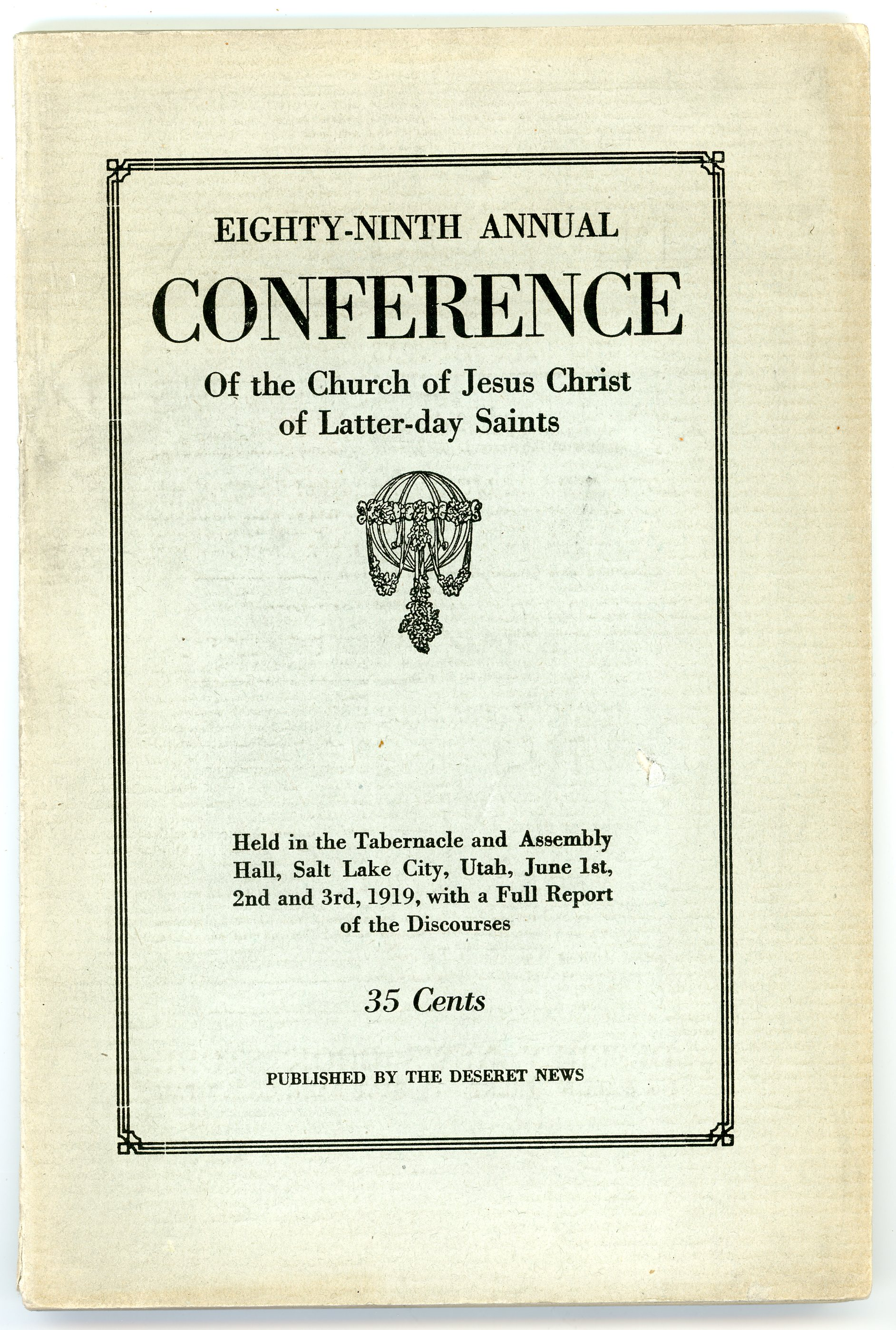 The cover of the 1919 general conference report.