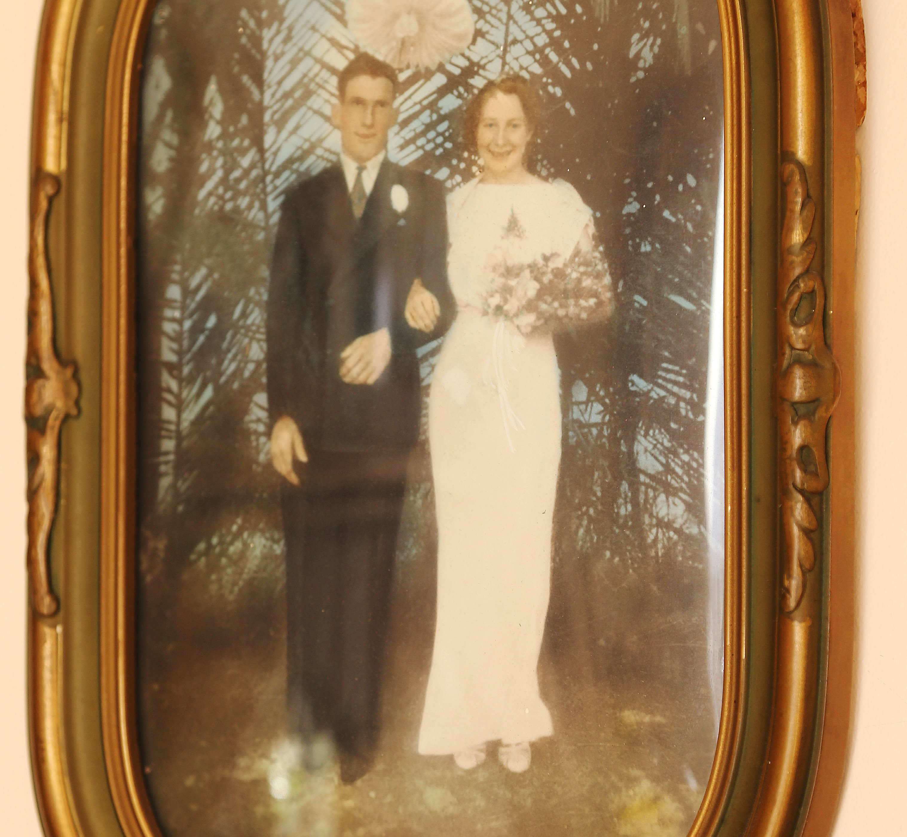 A wedding photo of Nellie Leighton and her husband displayed at her home in Salt Lake City on Tuesday, Jan. 22, 2019. Leighton will celebrate her 100th birthday in February.