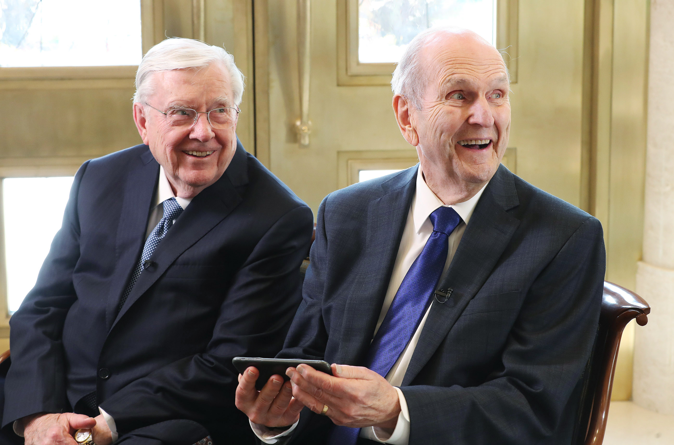 President M. Russell Ballard and President Russell M. Nelson of The Church of Jesus Christ of Latter-day Saints react to an photograph taken earlier in the day of themselves in Rome, Italy on Monday, March 11, 2019.