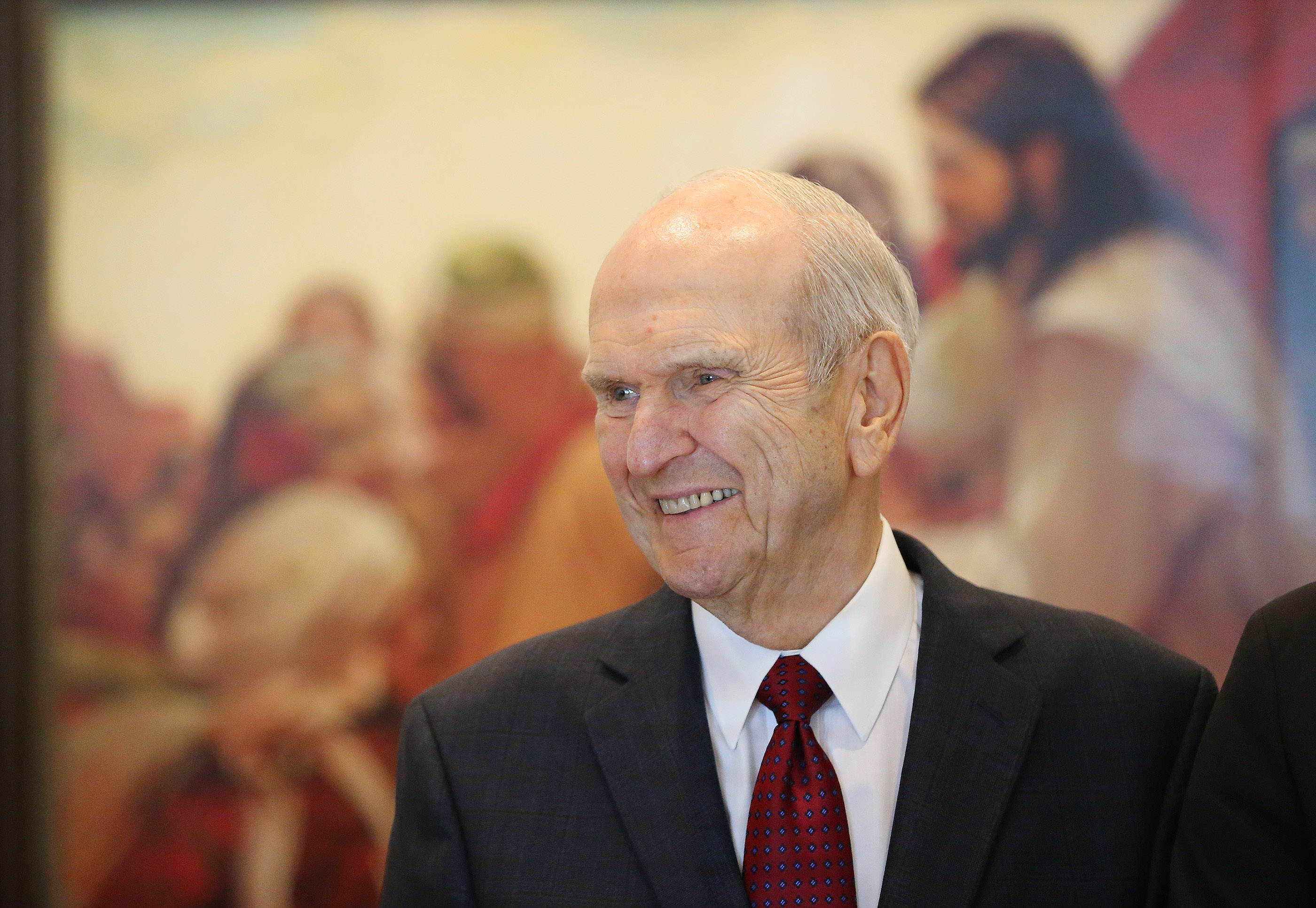 President Russell M. Nelson smiles while having lunch with local dignitaries in Concepcion, Chile, on Saturday, Oct. 27, 2018.