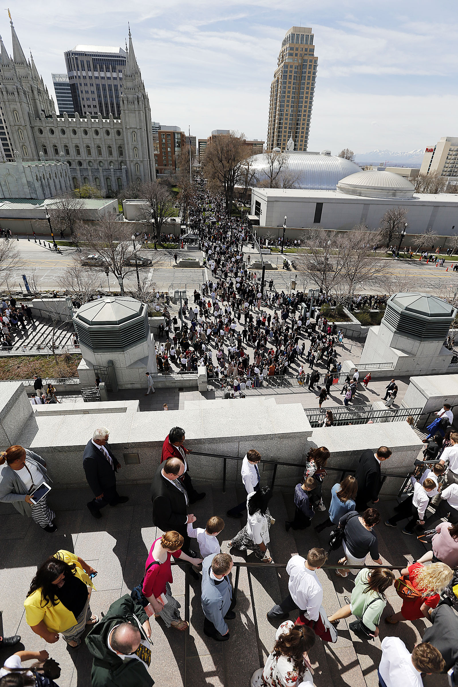 Conferencegoers leave the Conference Center following the Saturday morning session of The Church of Jesus Christ of Latter-day Saints' 188th Annual General Conference in Salt Lake City on Saturday, March 31, 2018.