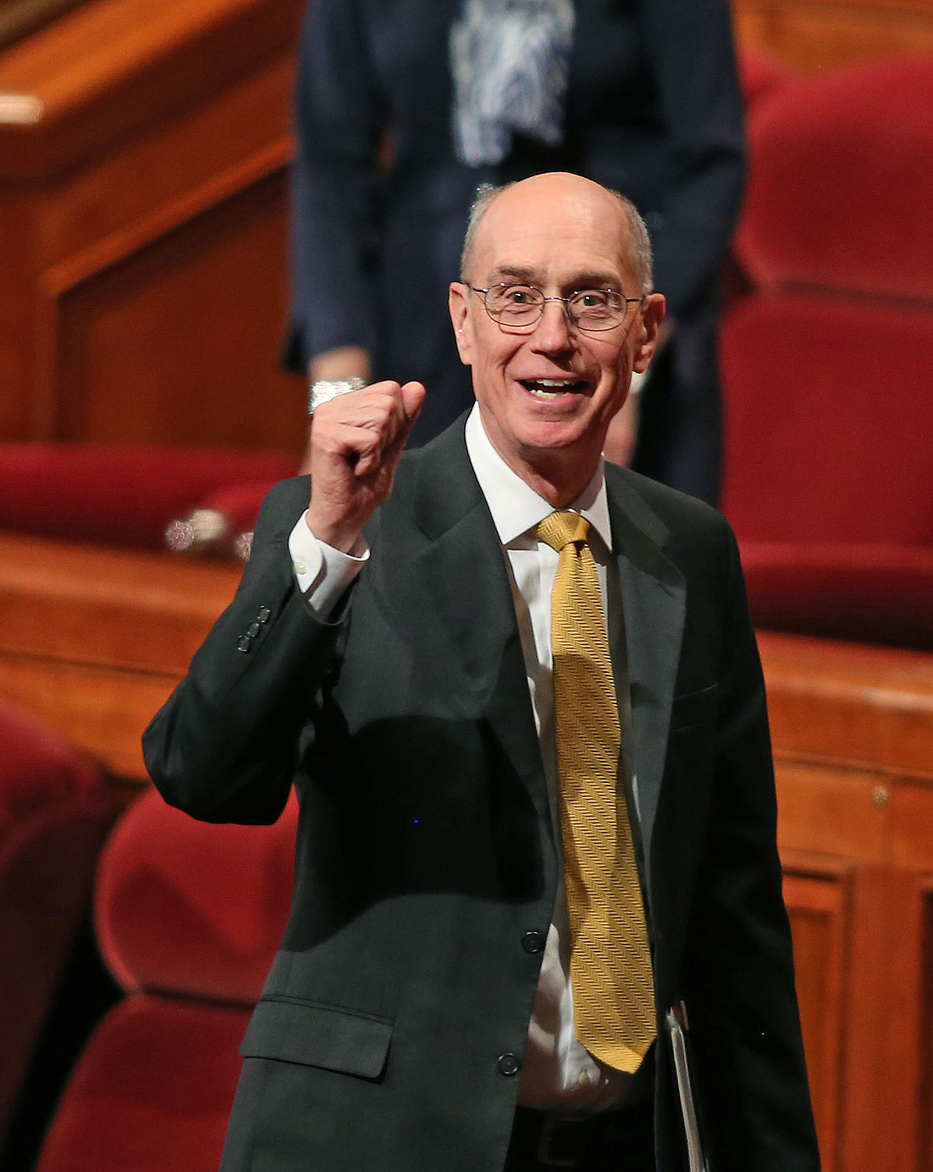 President Henry B. Eyring at the end of the morning session of the 183rd Semiannual General Conference Sunday, Oct. 6, 2013, in Salt Lake City.