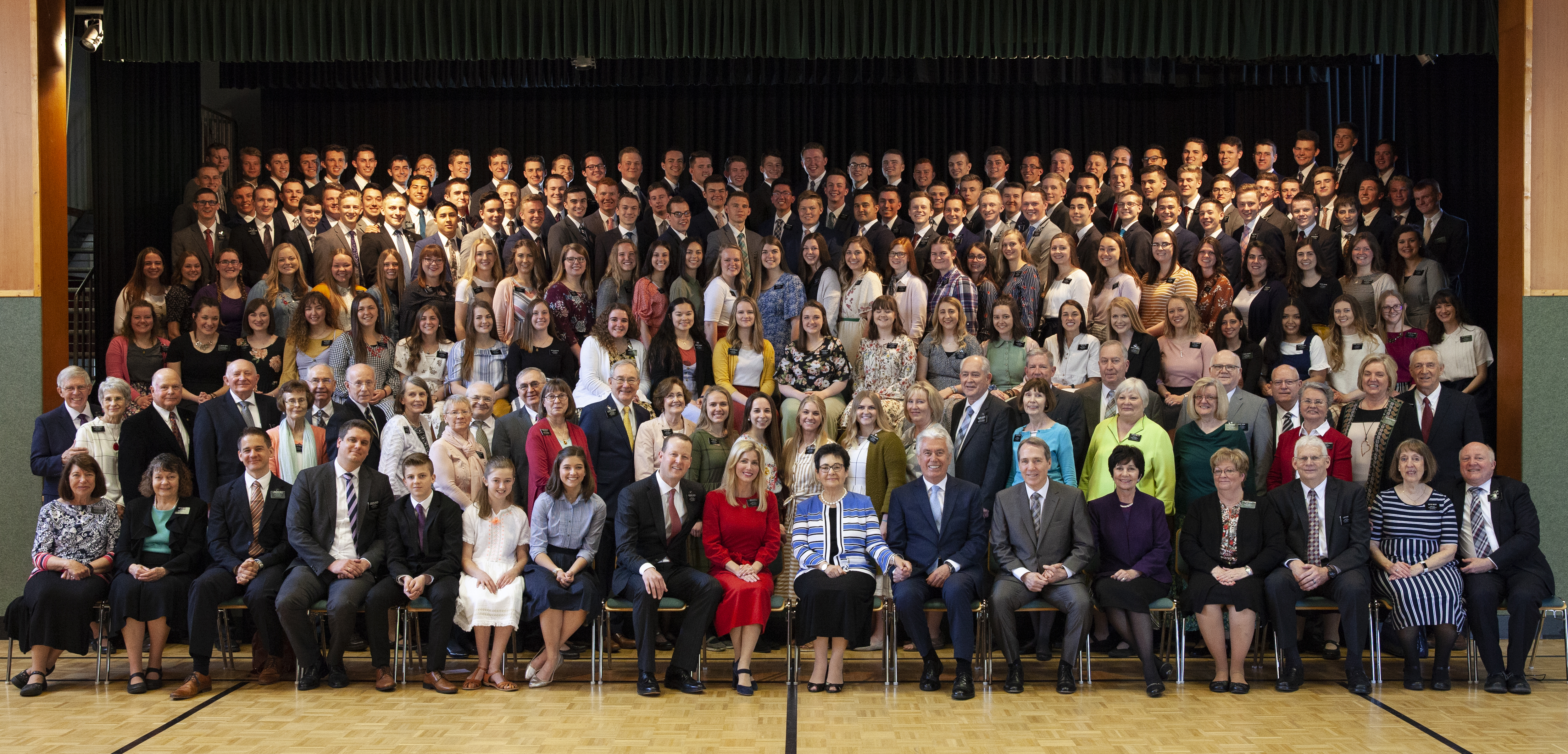 Elder Dieter F. Uchtdorf and Sister Harriet Uchtdorf pose for group photos with the leaders and missionaries of the Germany Frankfurt Mission following a mission conference in Frankfurt on April 18, 2019.