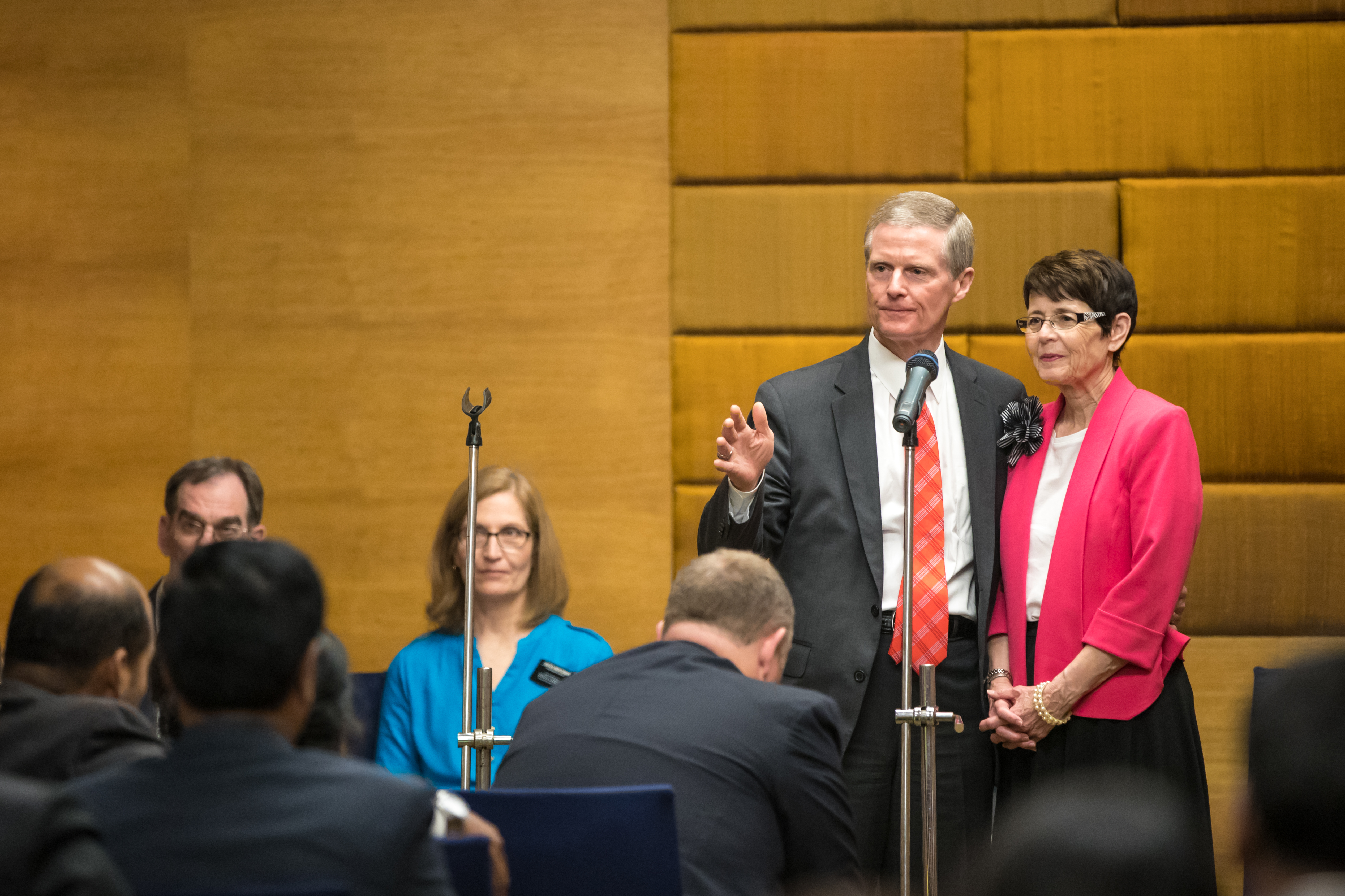Elder David A. Bednar and his wife, Sister Susan R. Bednar, answer questions during a member meeting in Hyderabad, India. The Bednars will speak at this year's RootsTech, scheduled for Feb. 27-March 2 at the Salt Palace Convention Center.