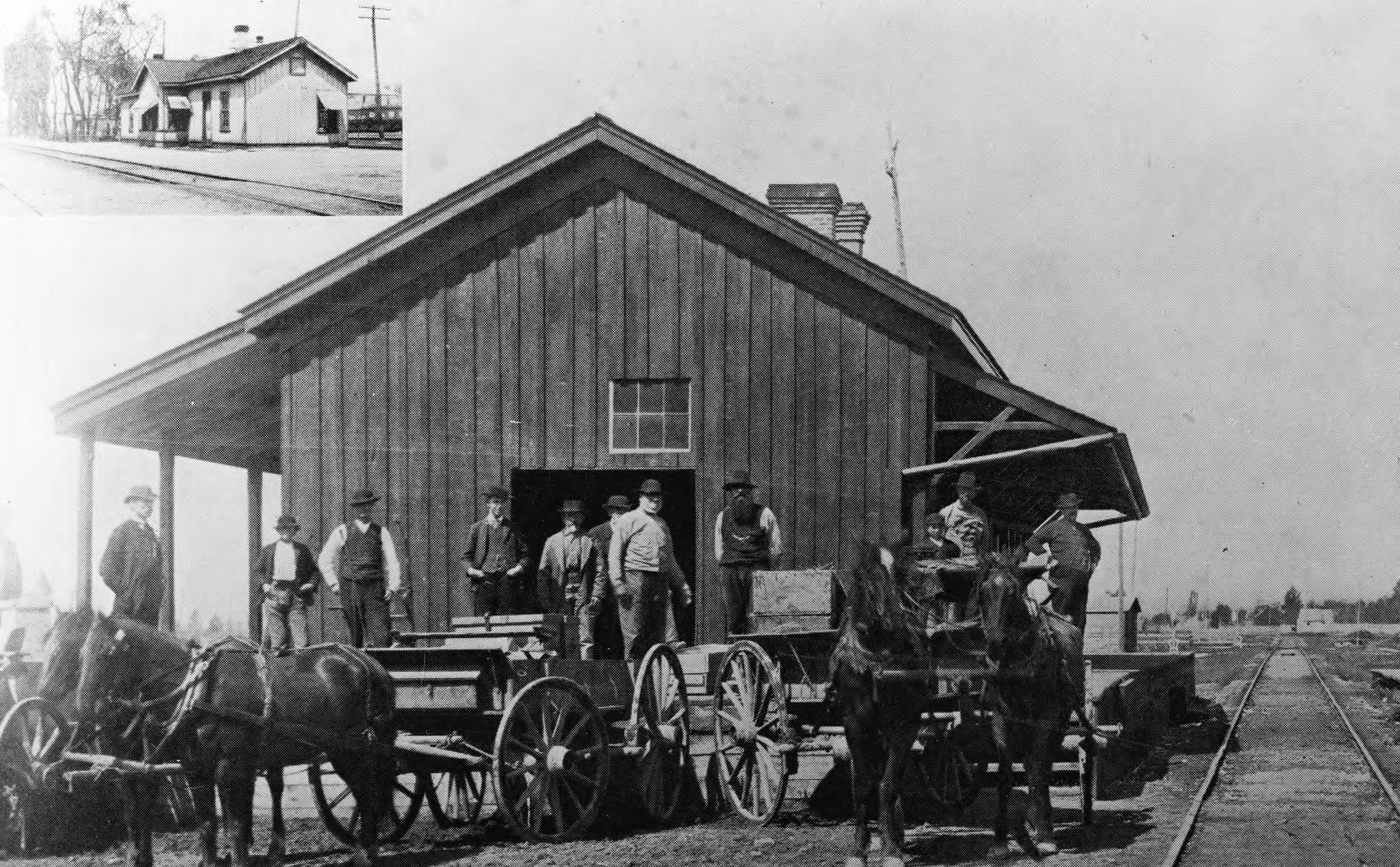 The Utah Central Railroad Depot at Provo, Utah, is photographed in 1887.