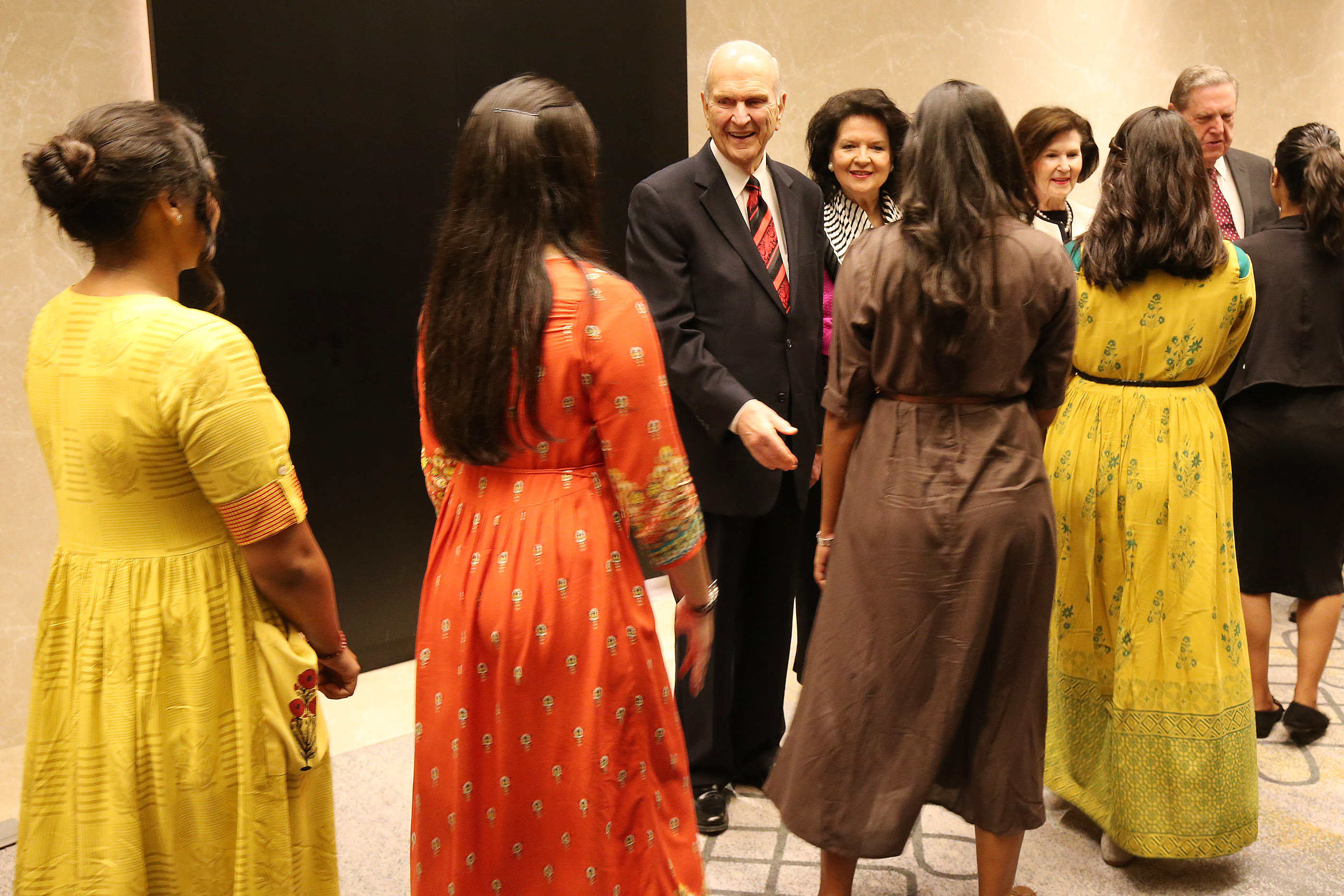 President Russell M. Nelson and Elder Jeffrey R. Holland of the Quorum of the Twelve Apostles, greet missionaries prior to a conference in Bengaluru, India, on Thursday, April 19, 2018.