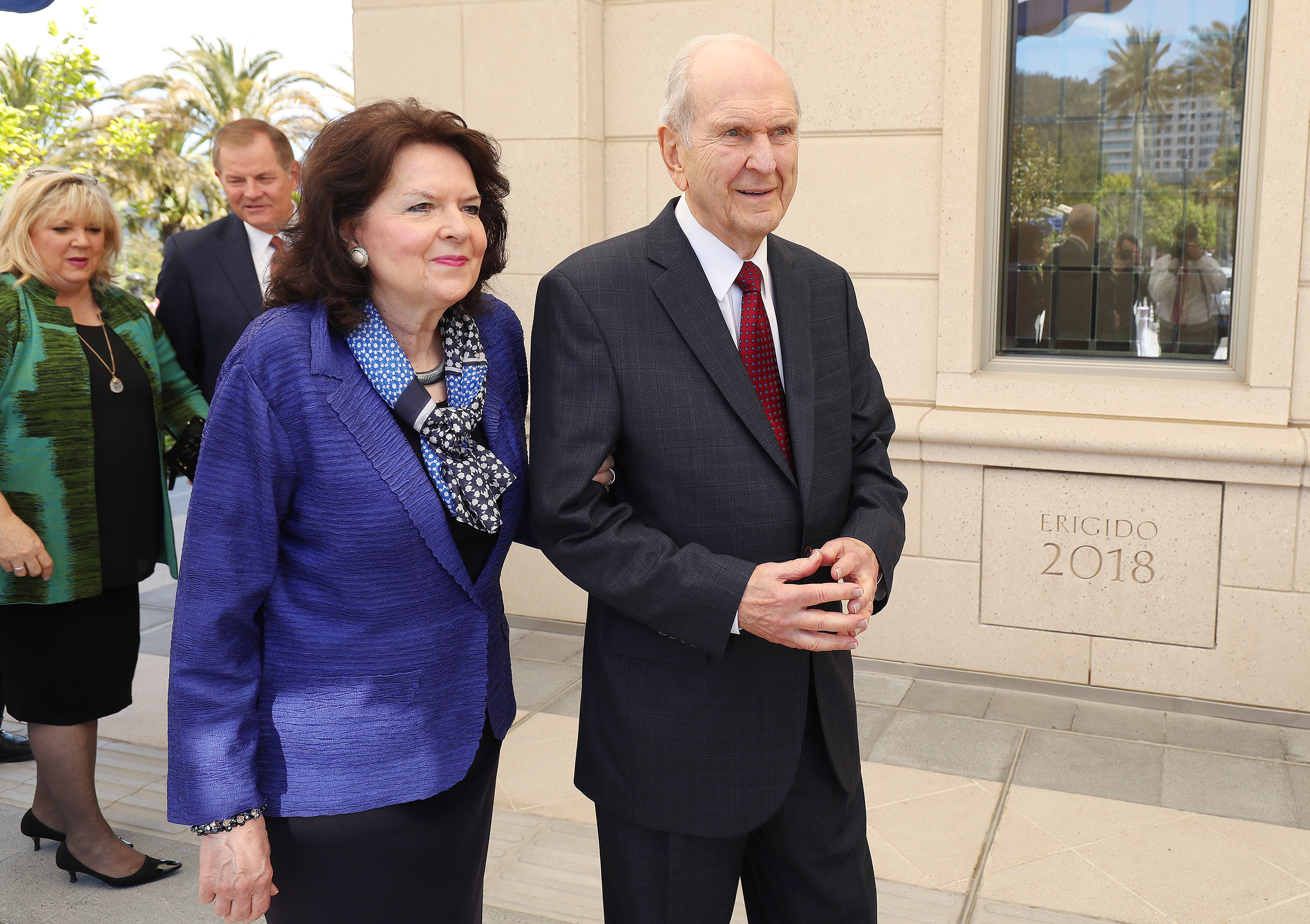President Russell M. Nelson of The Church of Jesus Christ of Latter-day Saints and his wife, Sister Wendy Nelson, and Elder Gary E. Stevenson of the Quorum of the Twelve Apostles and his wife, Sister Lesa Stevenson, walk near the temple in Concepcion, Chile, on Saturday, Oct. 27, 2018.