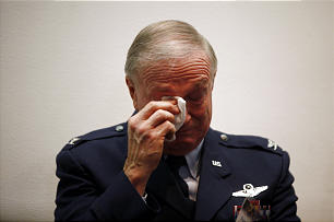 Frank Clawson, director of LDS Military Relations and a retired U.S. Air Force colonel, wipes a tear from his eye while introducing and sharing a story about Elder Lance B. Wickman, an emeritus member of the First Quorum of the Seventy.