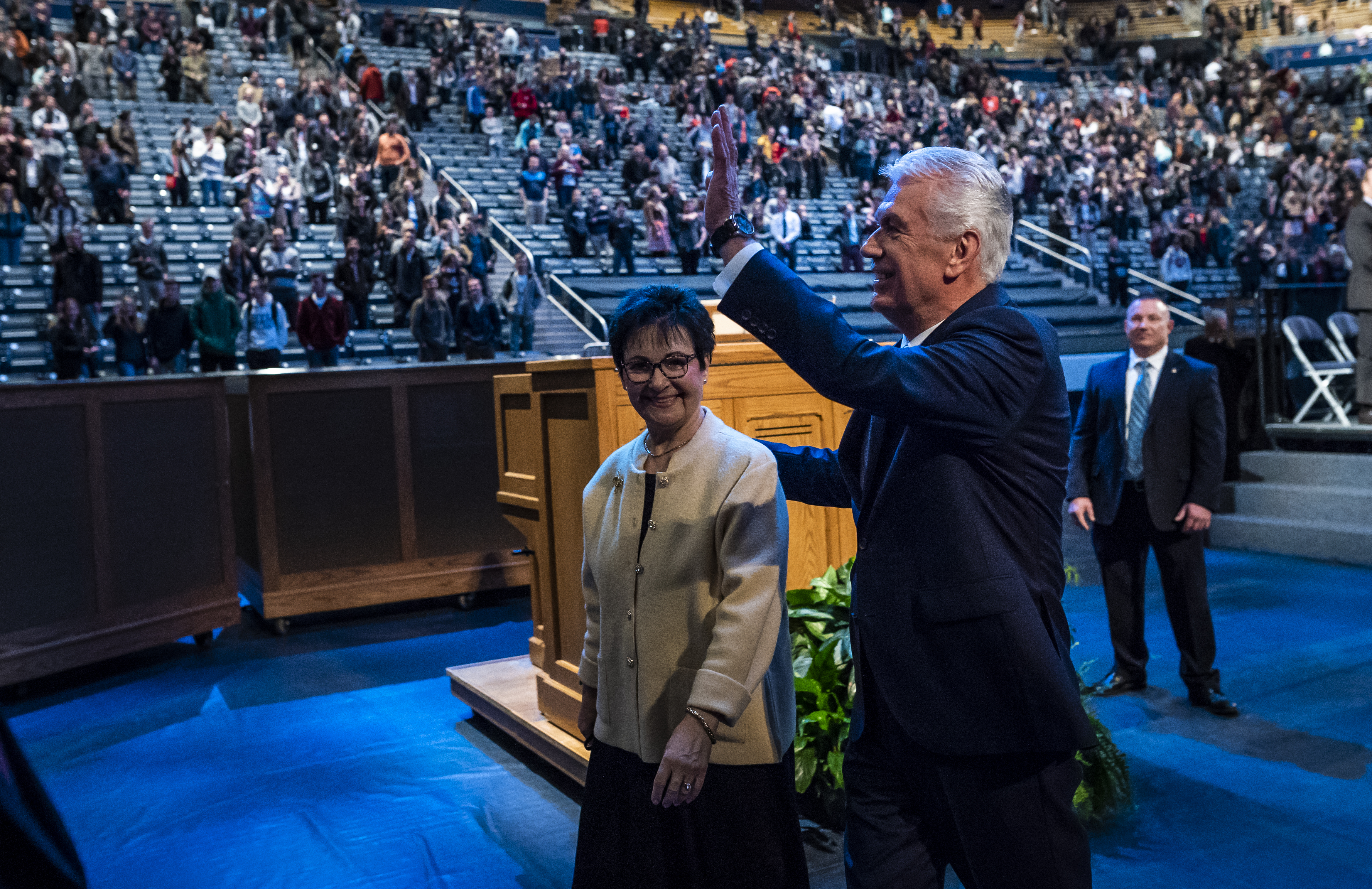 Elder Dieter F. Uchtdorf of the Quorum of the Twelve Apostles his wife Harriet R. Uchtdorf following a devotional on the BYU campus in Provo, Utah on Tuesday, Jan. 15, 2019.