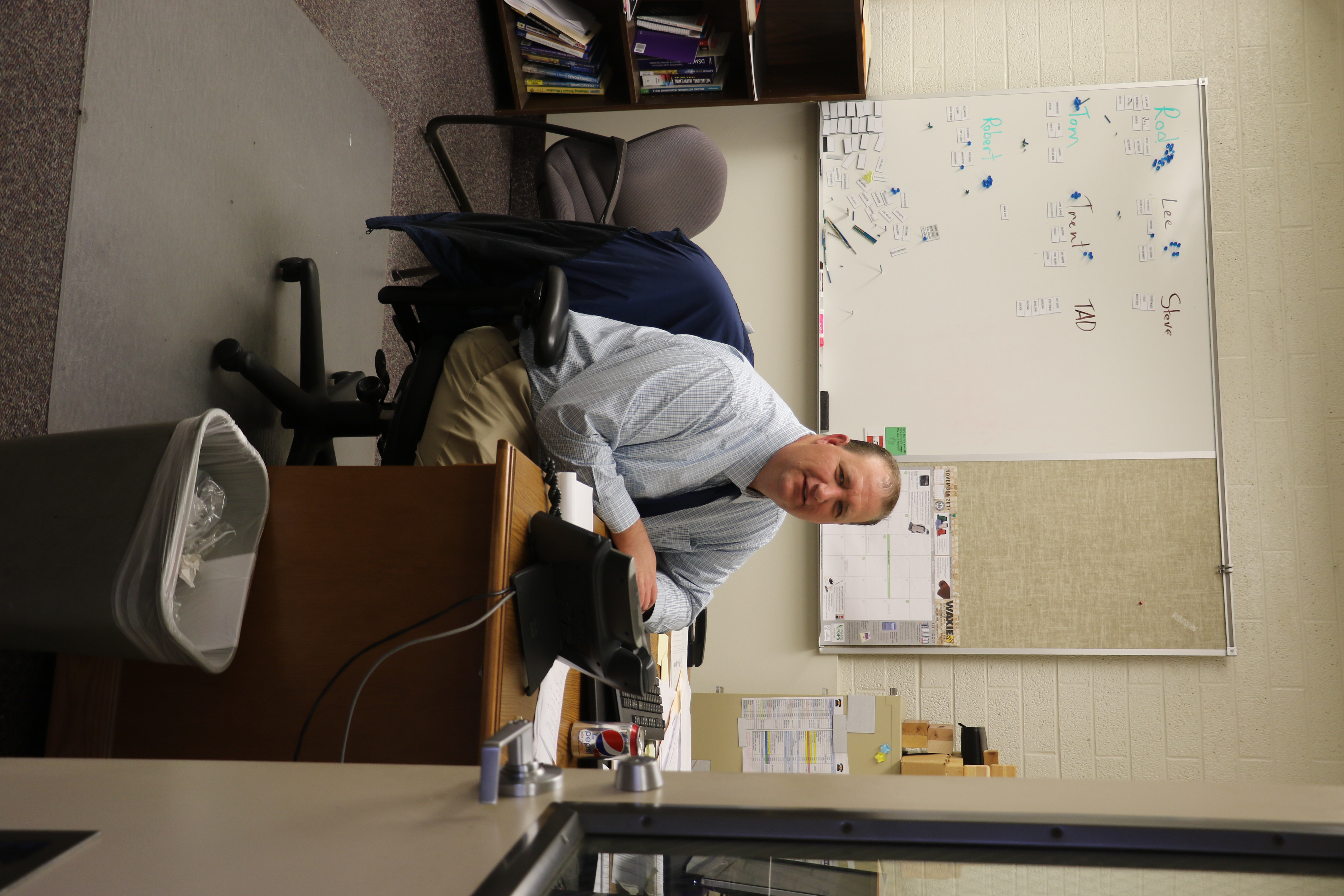 Brett Holbrook works as a counselor for the employees of the Deseret Manufacturing facility in Salt Lake City.