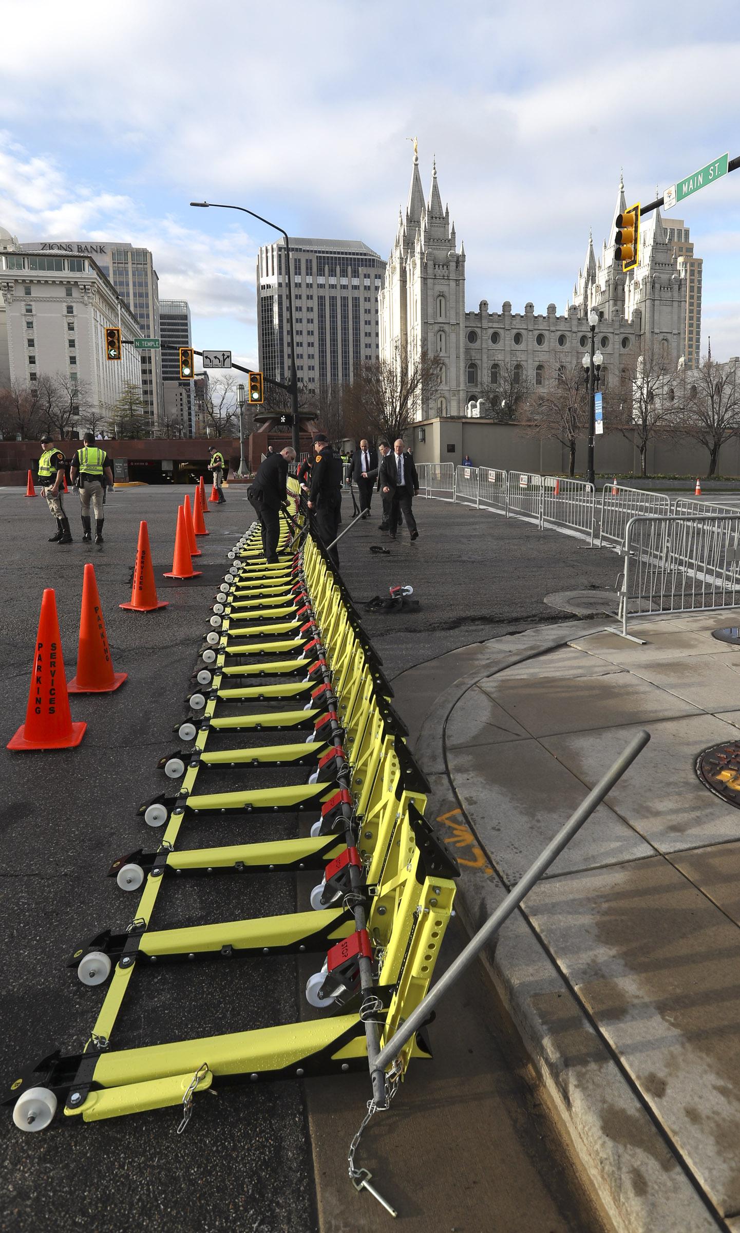 Barricades are installed on South Temple outside the Conference Center before the Saturday morning session of the 189th Annual General Conference of The Church of Jesus Christ of Latter-day Saints in Salt Lake City on Saturday, April 6, 2019.
