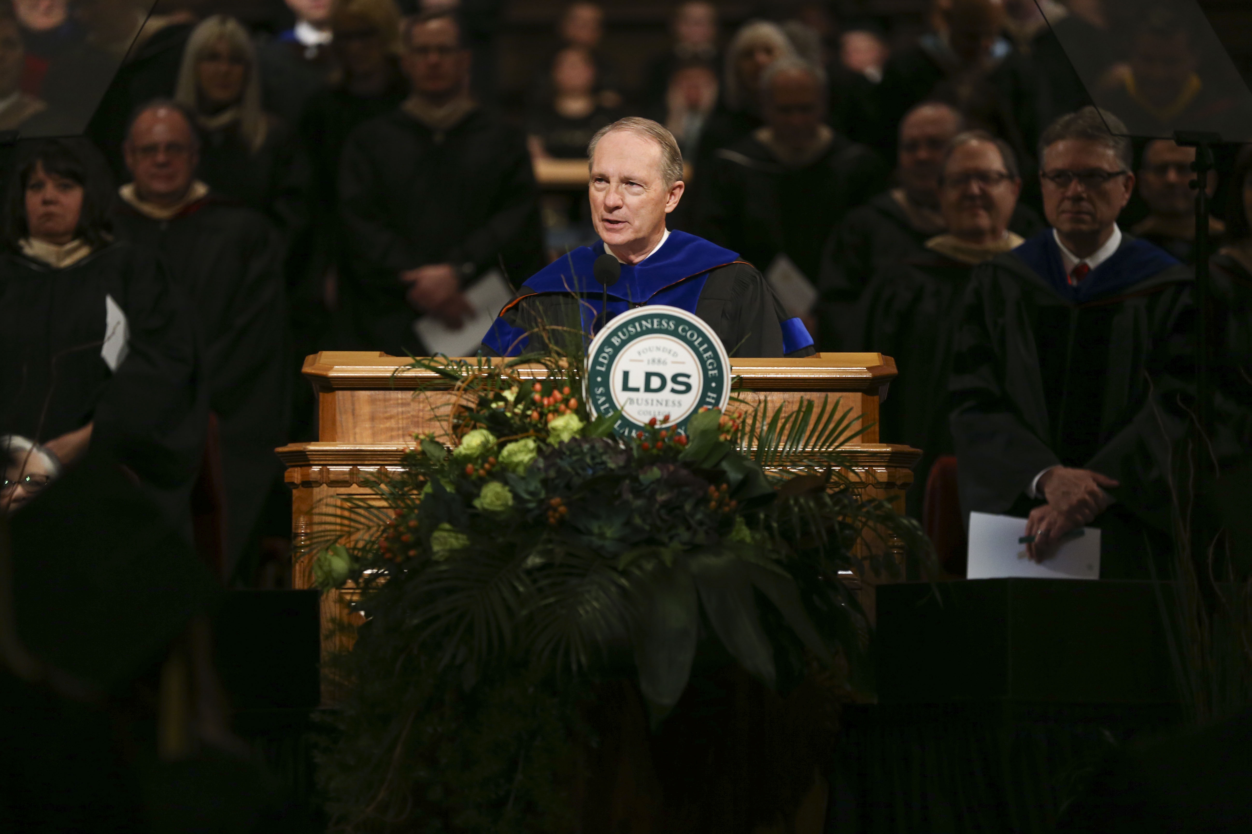 President Bruce C. Kusch speaks during the commencement ceremony for LDS Business College at the the Tabernacle at Temple Square in Salt Lake City on Friday, April 12, 2019.