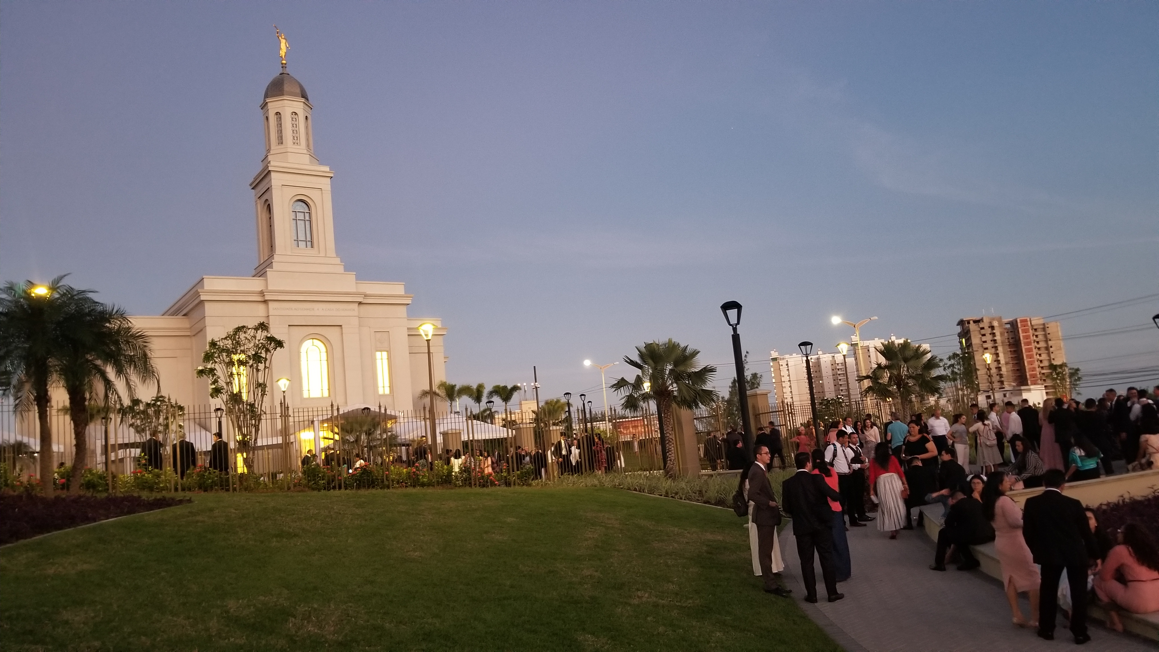 Members linger as dusk falls Sunday, June 2, 2019, well after the third and final dedicatory session of the Fortaleza Brazil Temple.