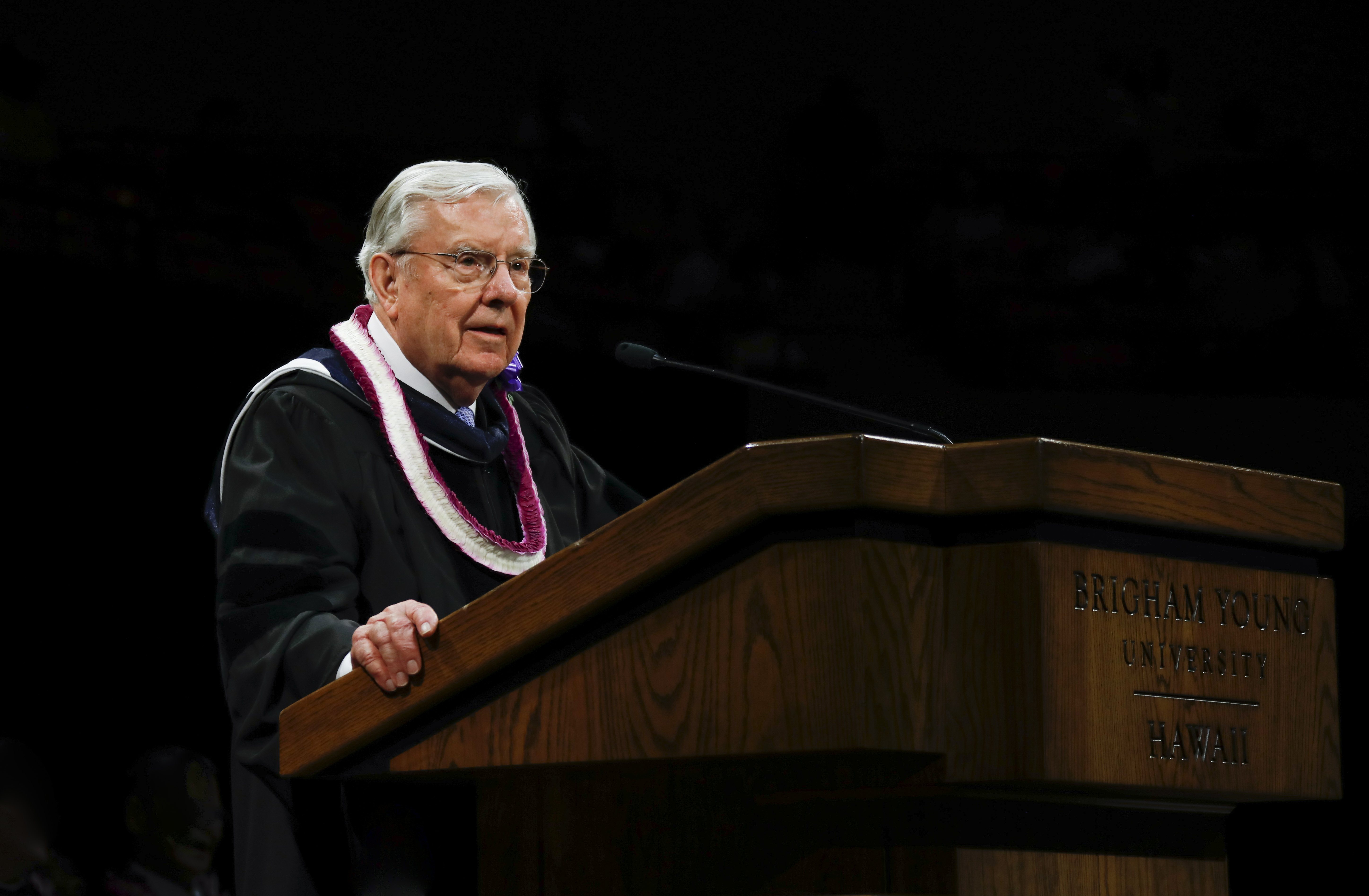 President M. Russell Ballard, acting president of the Quorum of the Twelve Apostles, speaks to graduates during the BYU-Hawaii Winter Semester Commencement ceremony on April 20, 2019.