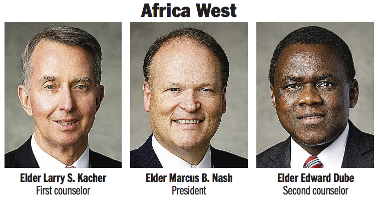 Africa West Area presidency: Elder Marcus B. Nash, Elder Larry S. Kacher and Elder Edward Dube.