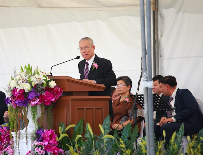 Elder Wisit Khanakham, an Area Seventy, offers remarks at the groundbreaking ceremony for the Bangkok Thailand Temple.