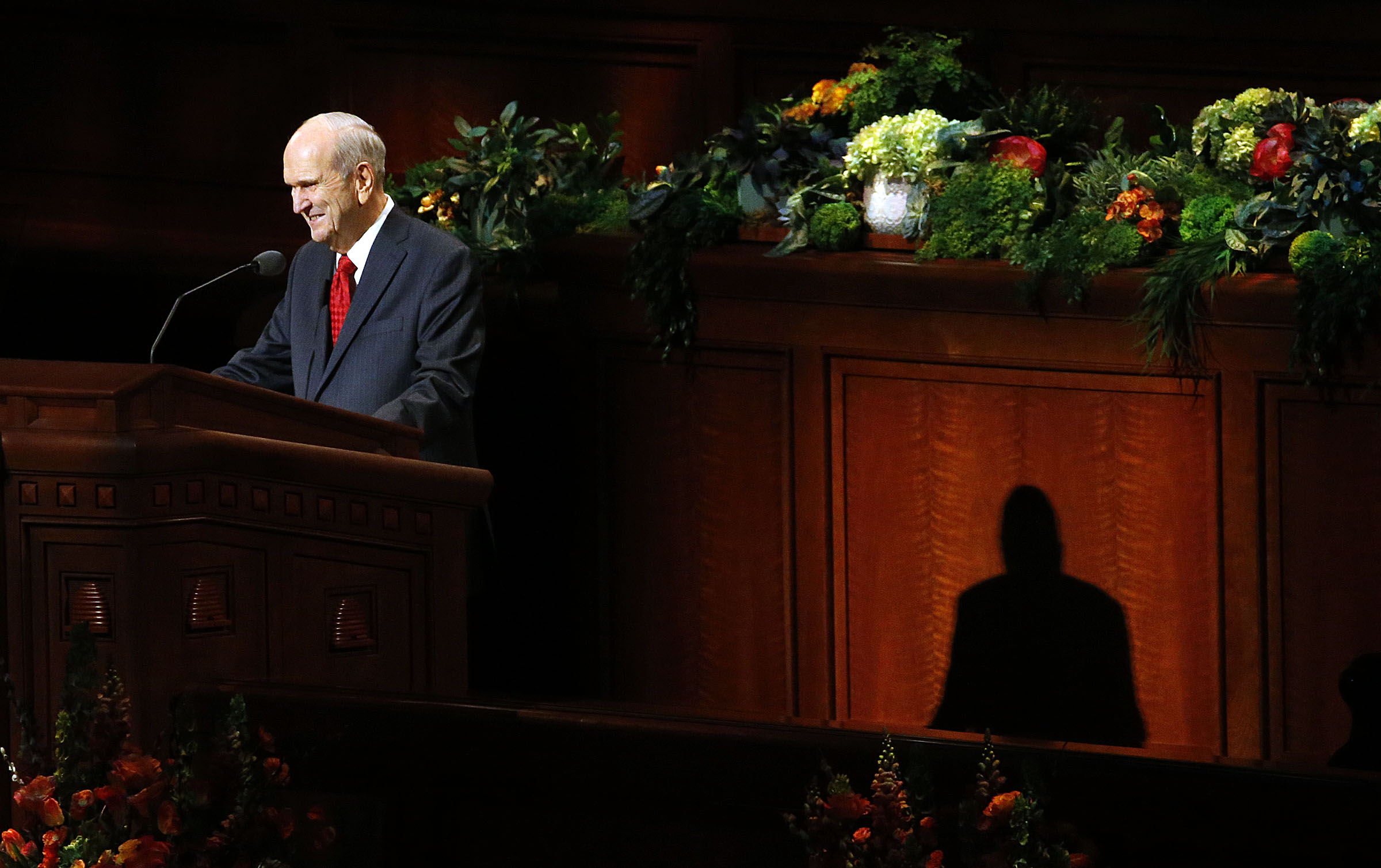 President Russell M. Nelson of The Church of Jesus Christ of Latter-day Saints speaks during the priesthood session of the Annual General Conference in the Conference Center in Salt Lake City on Saturday, April 6, 2019.