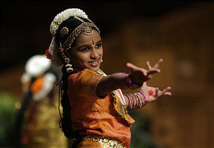 Sahana Kargi, 9, performs Hindu dance during the Interfaith Musical Tribute in the Tabernacle on Temple Square on Sunday, Feb. 20. The annual event originated the Sunday before the 2002 Winter Olympics in Salt Lake City.