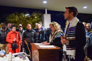 Rabbi Samuel L. Spector speaks to a crowd gathered at a candlelight vigil held at Congregation Kol Ami in Salt Lake City on Oct. 30, 2018.