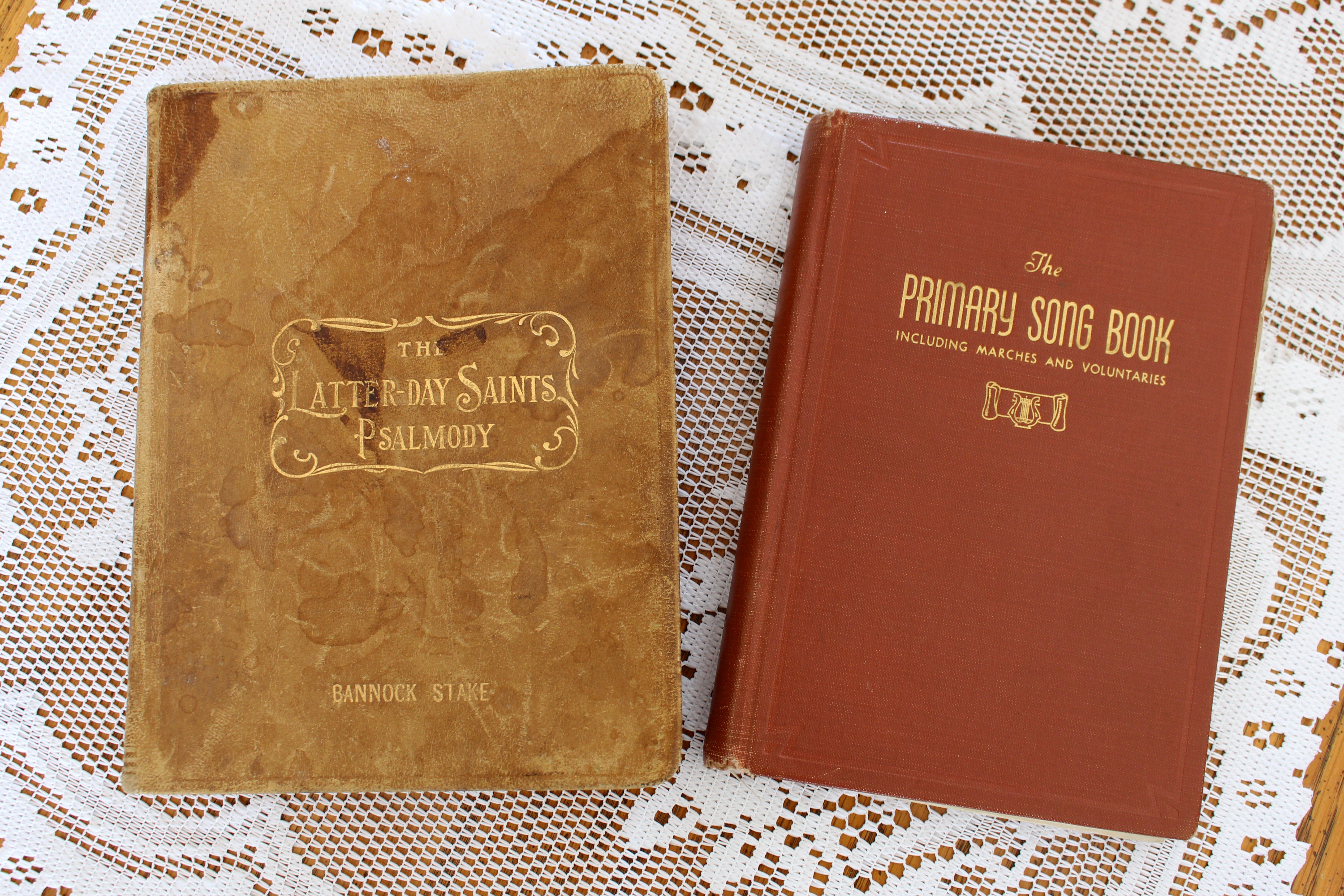 Left: The Latter-day Saints' Psalmody was the first hymnbook to include both music and text in 1889. Right: The Primary Song Book was published in 1905. The Church has announced it is revising the hymnbook and children's songbook and invites members to participate.