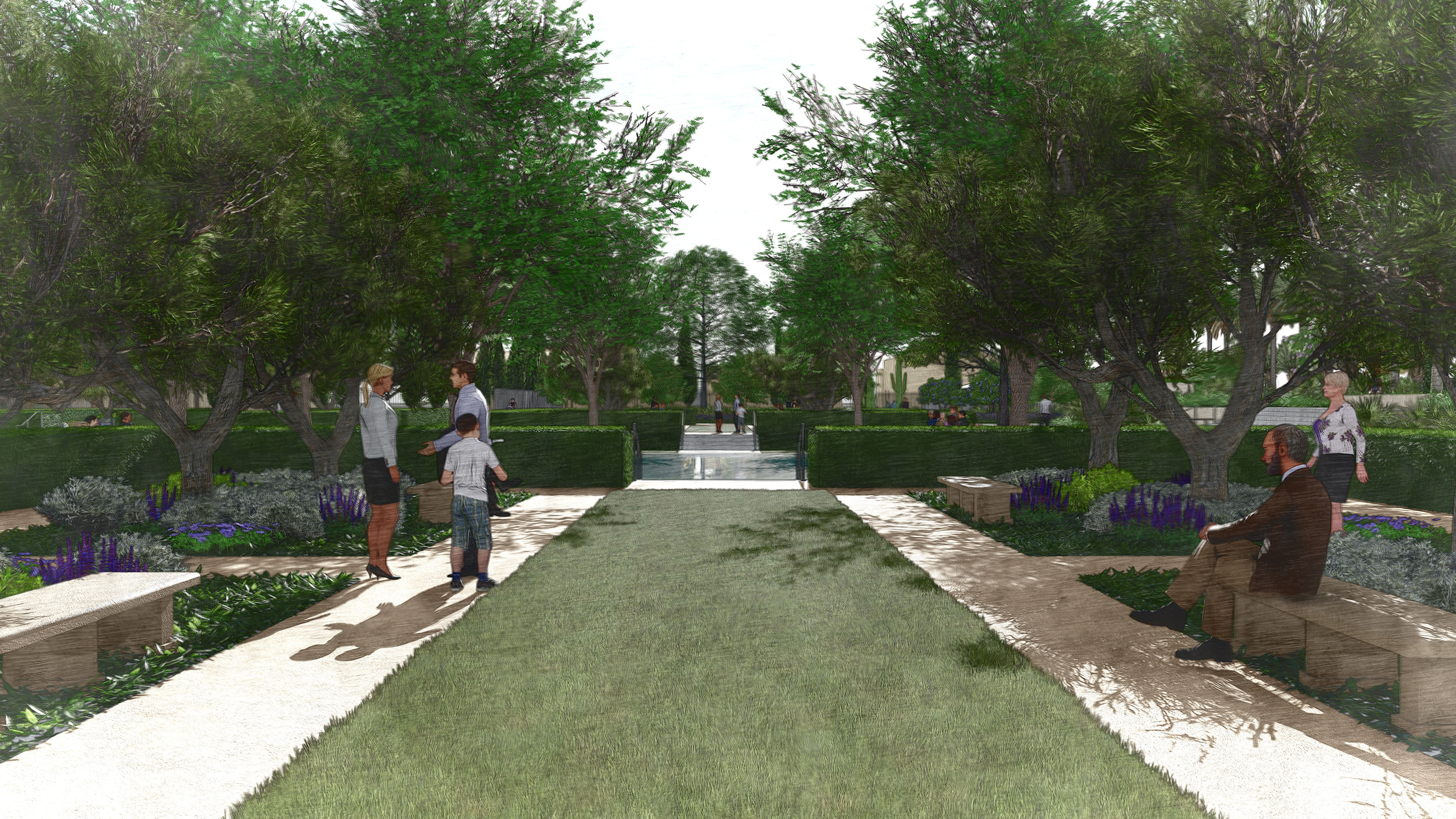Rendering of the Olive Grove area outside the Mesa Arizona Temple.