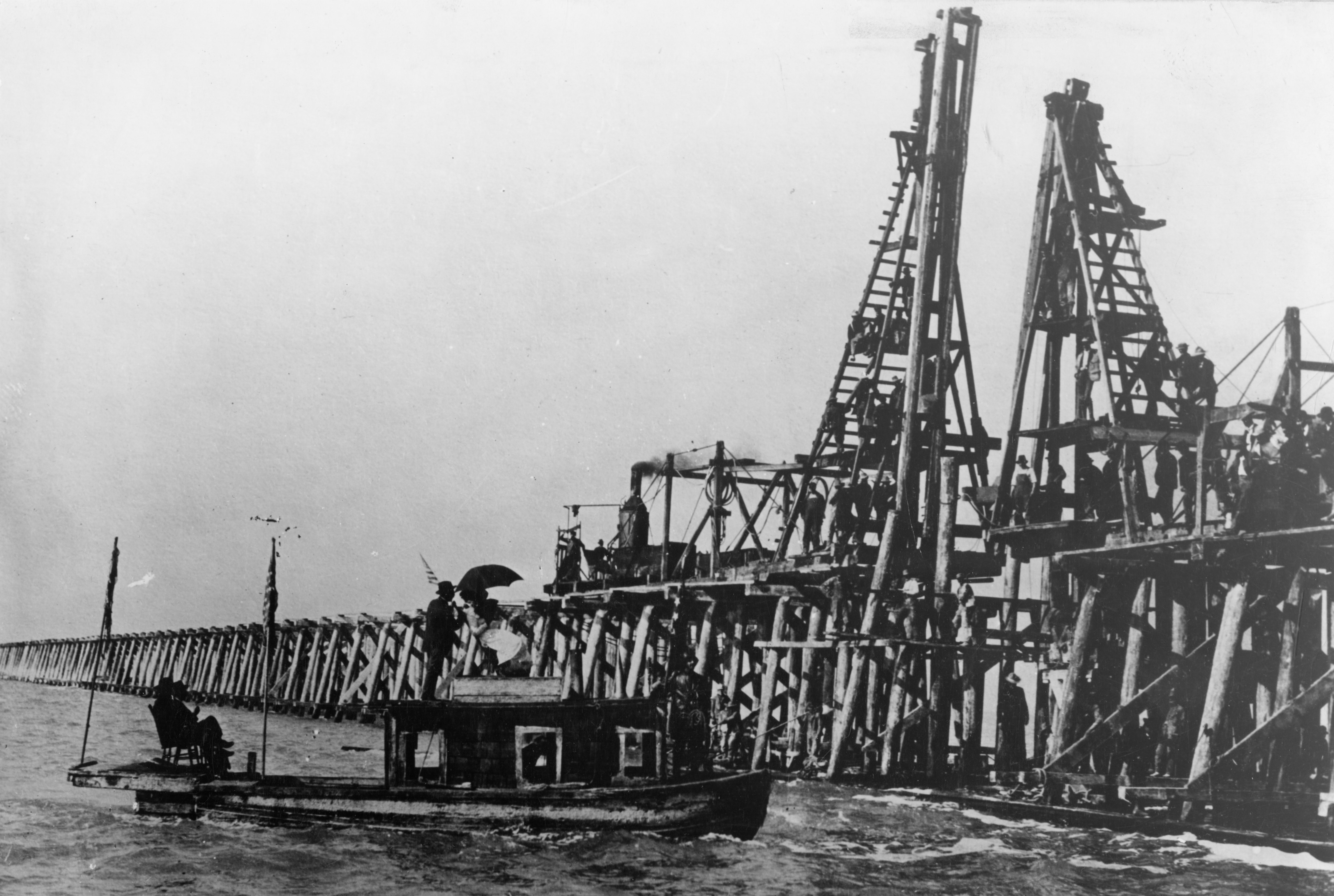 Central Pacific Railroad finishes the last pile in the original permanent trestle across the Great Salt Lake on the Lucin Cutoff, Oct. 26, 1903.