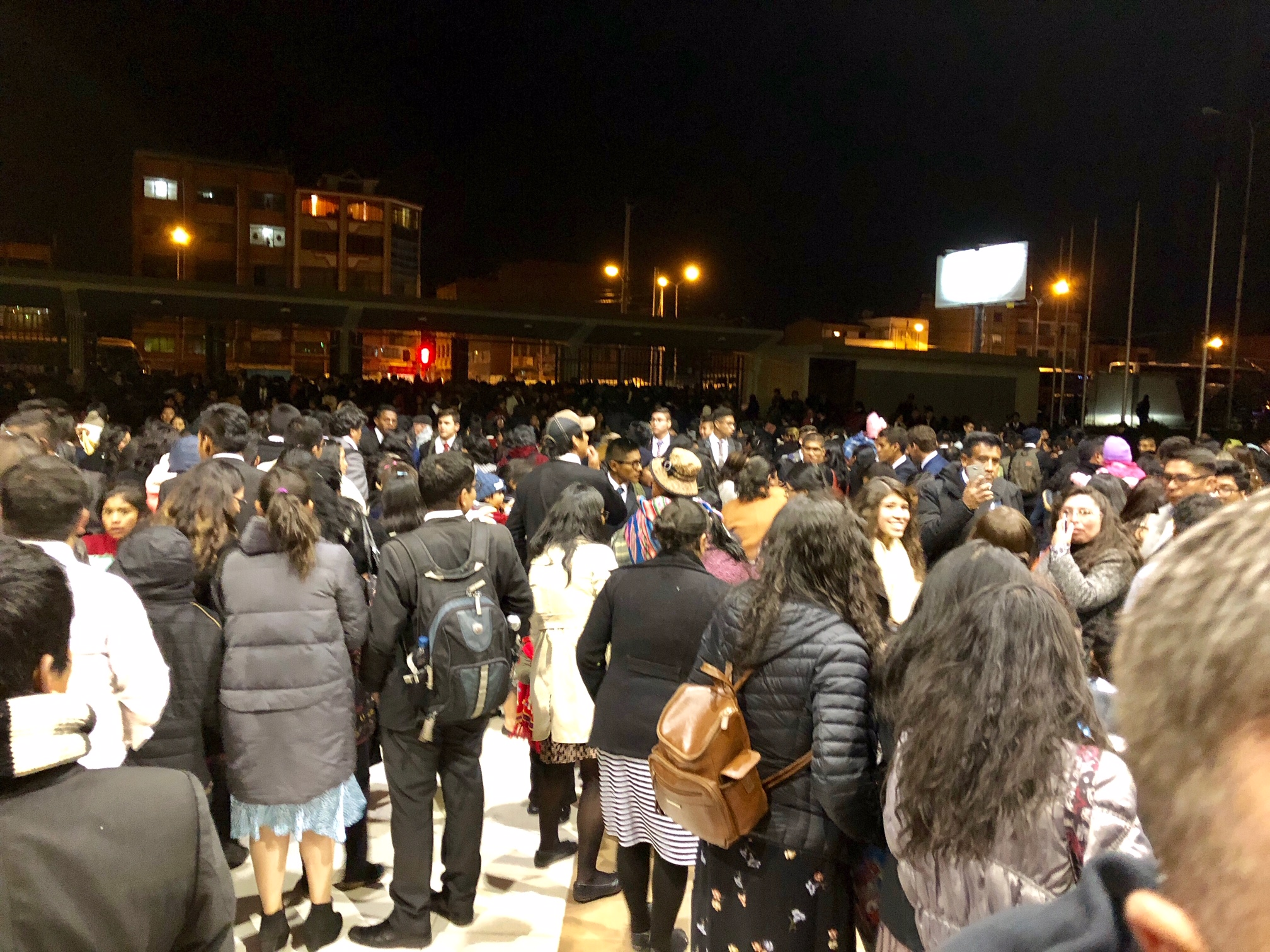 Crowds outside the Polideportivo Heroes de Octubre in El Alto on Sunday, Oct. 21 where President Nelson spoke.