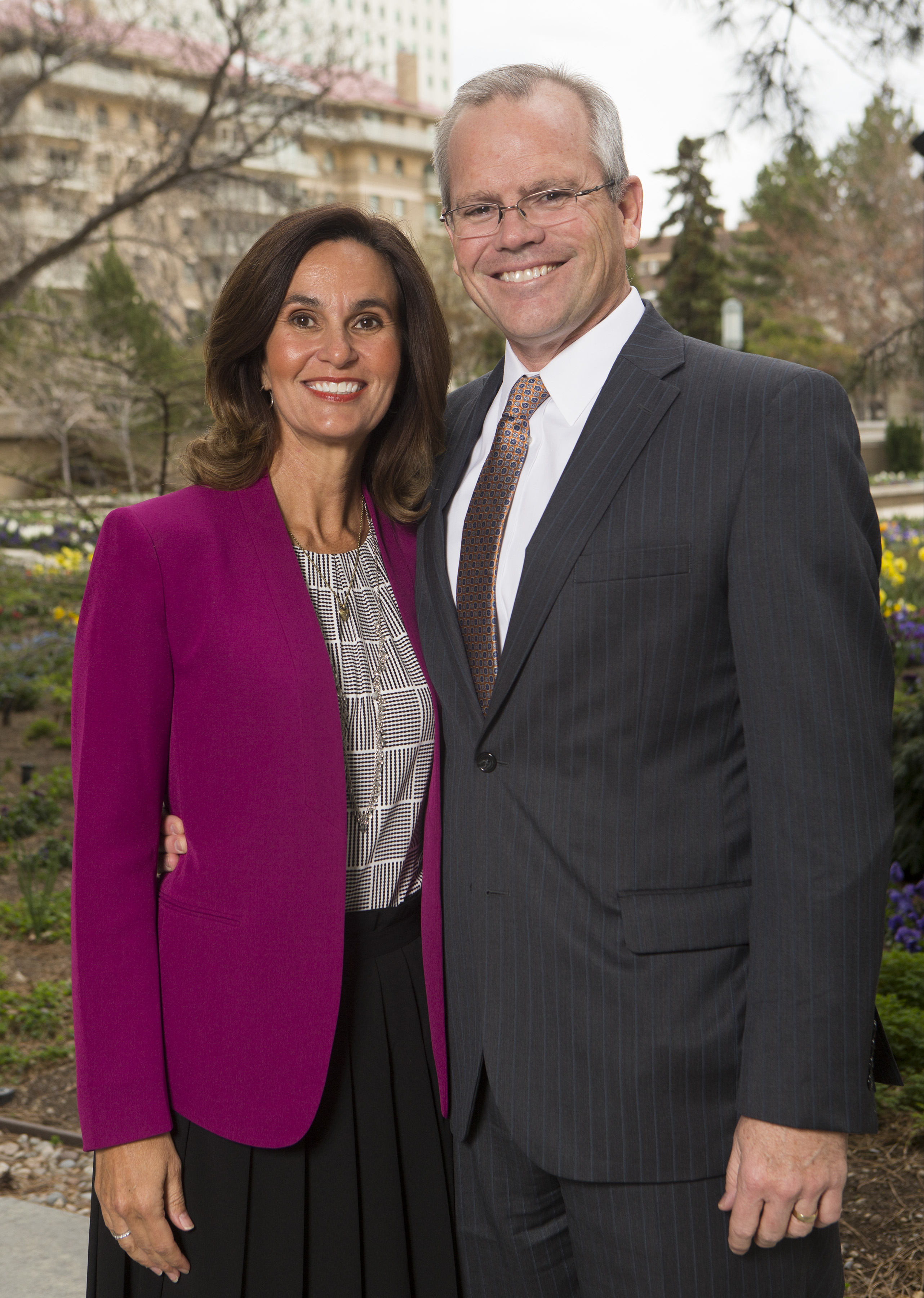 Sister Lisa L. Harkness, first counselor in the Primary General Presidency, and her husband, Brother David S. Harkness, in Salt Lake City on Monday, April 2, 2018.