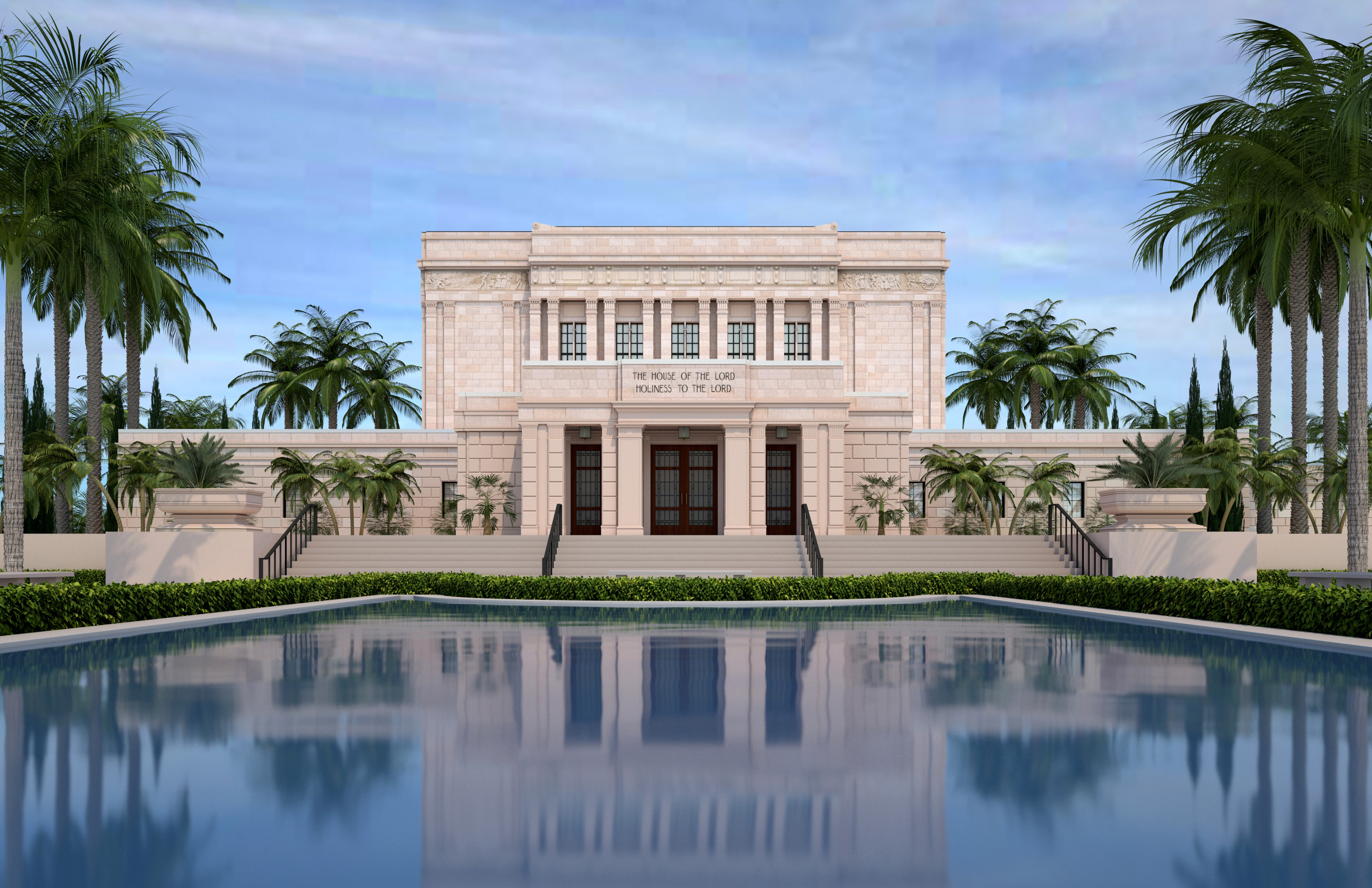 Rendering of a garden on the grounds of the Mesa Arizona Temple.