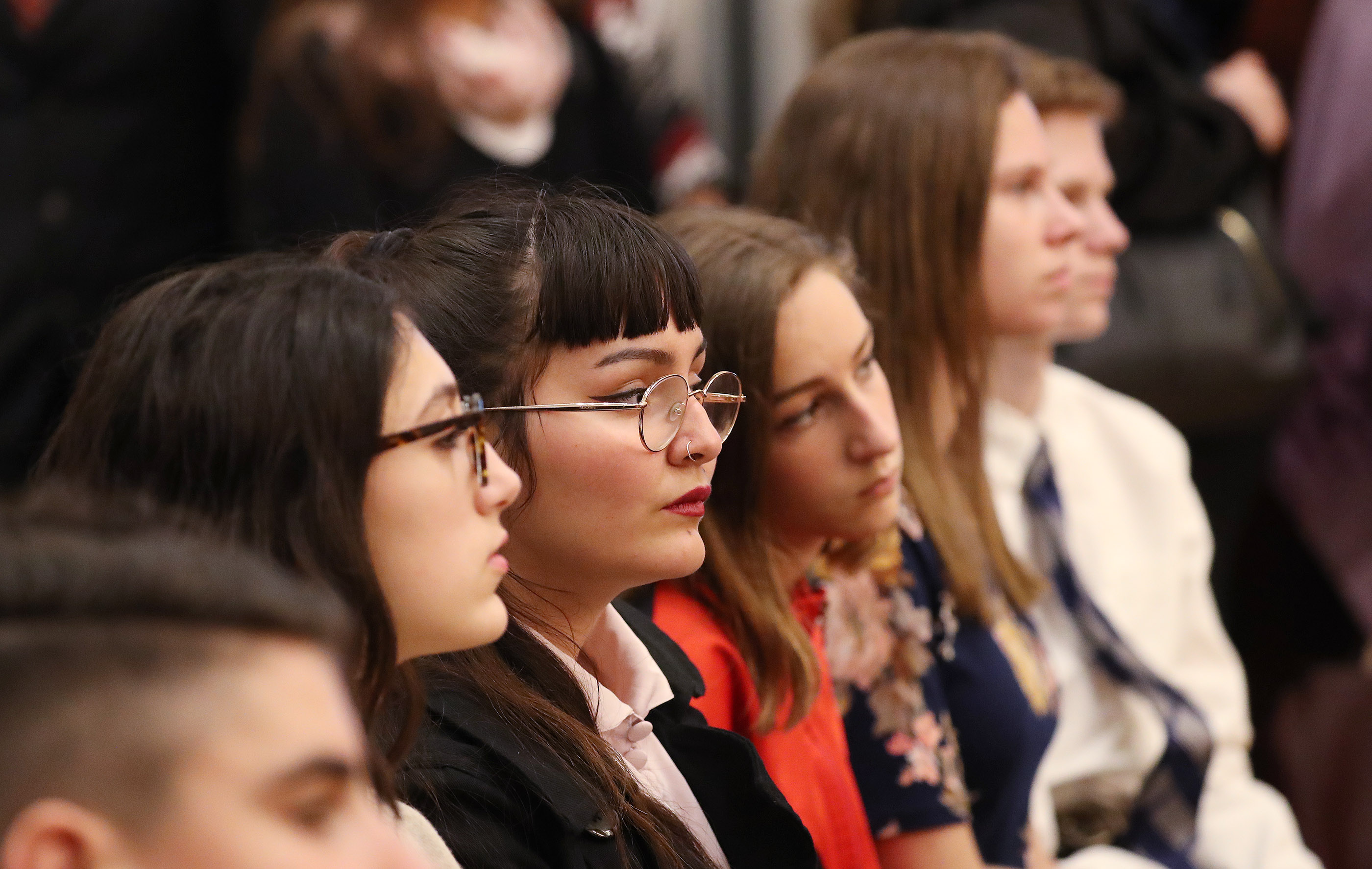 Attendees listen to President Russell M. Nelson of The Church of Jesus Christ of Latter-day Saints during a devotional in Rome, Italy, on Thursday, March 7, 2019.