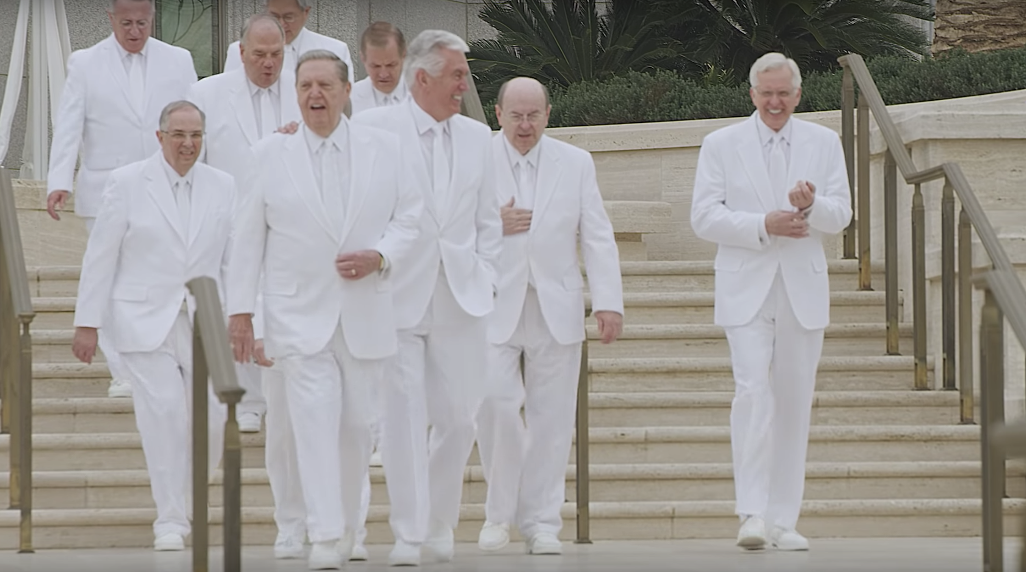 Members of the Quorum of the Twelve Apostles gather at the Rome Italy Temple grounds.