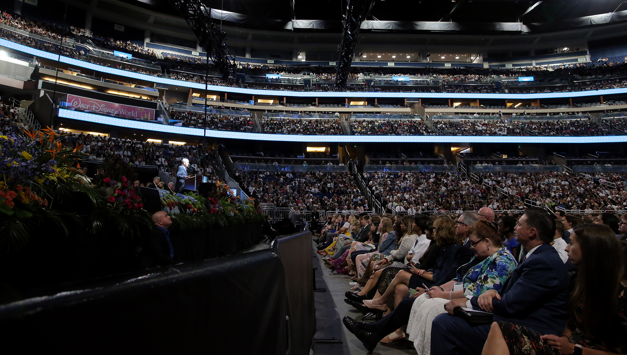 A devotional crowd of 15,500 listen to President Russell M. Nelson and others speak at the Amway Center in Orlando, Florida, on Sunday, June 9, 2019.