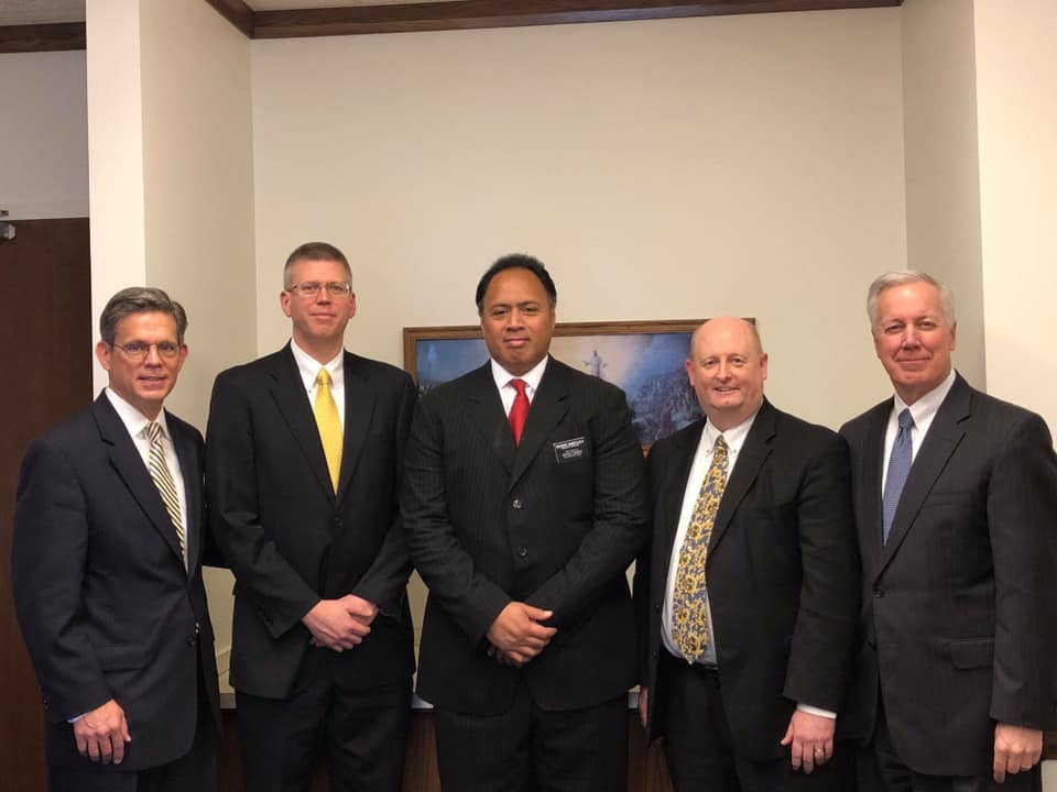 The Annapolis Maryland Stake Presidency was reorganized on Jan. 20, 2019. From left, Area Seventy Elder Milan F. Kunz, first counselor President Jay Sweany, President Ken Niumatalolo, second counselor President Troy Corbett, Elder Kevin S. Hamilton, a General Authority Seventy.