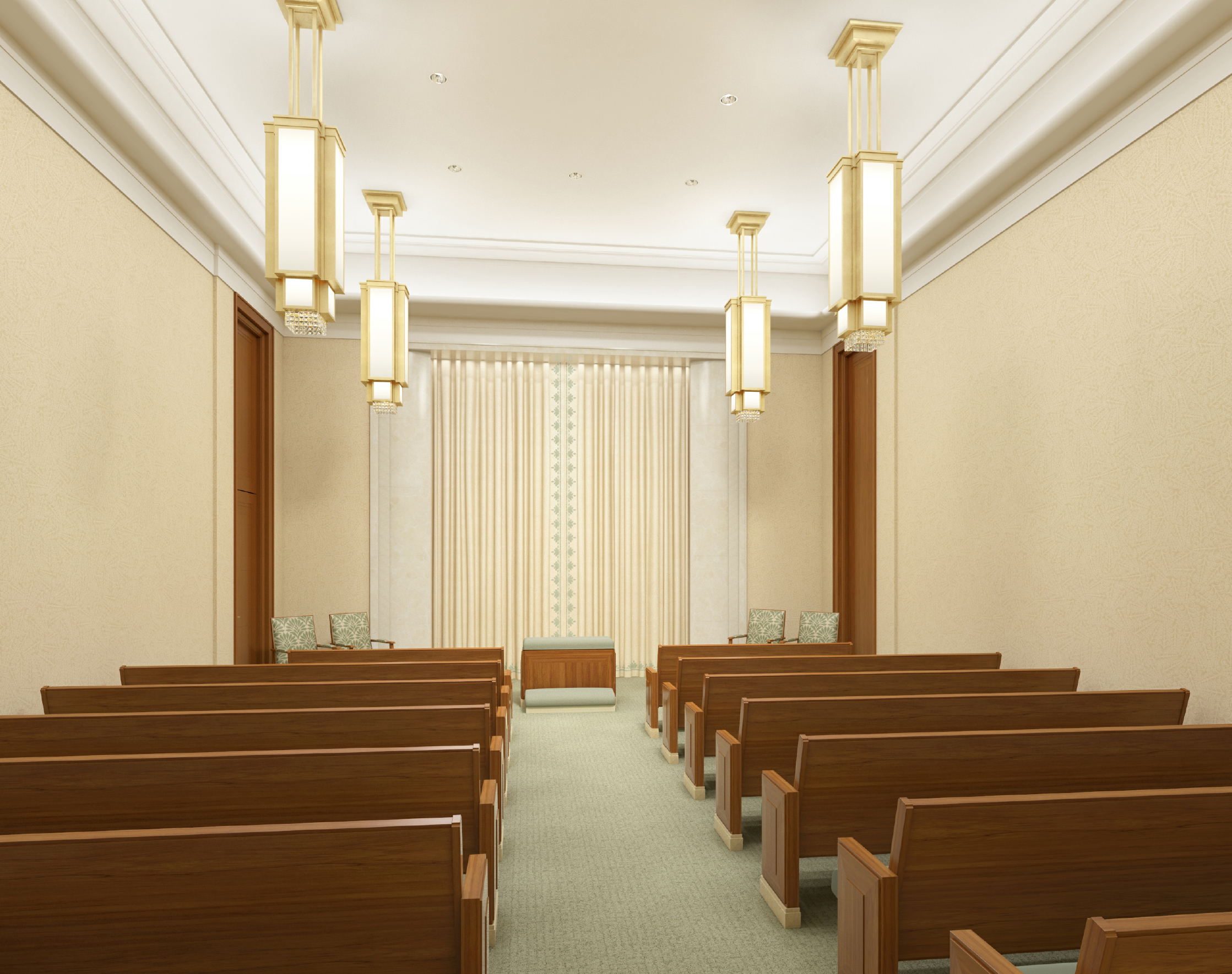 A rendering of an instruction room in the Hamilton New Zealand Temple after renovation.