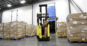 Don Crandall works in the refrigerated staging area of the new Utah Bishops' Central Storehouse in Salt Lake City, Thursday, Jan. 26, 2012.