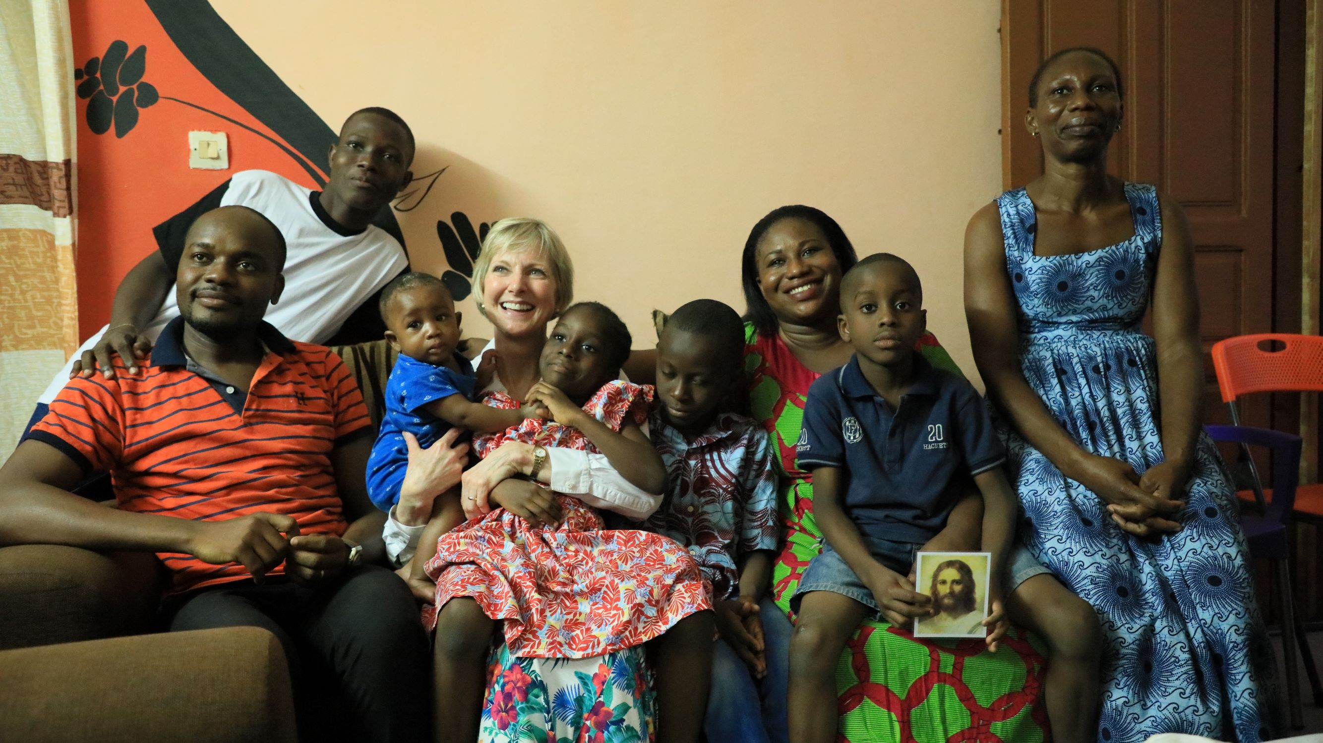 A Latter-day Saint family meets with Sister Jean B. Bingham, Relief Society general president, in Abidjan, Côte d'Ivoire, Friday, March 8, 2019.