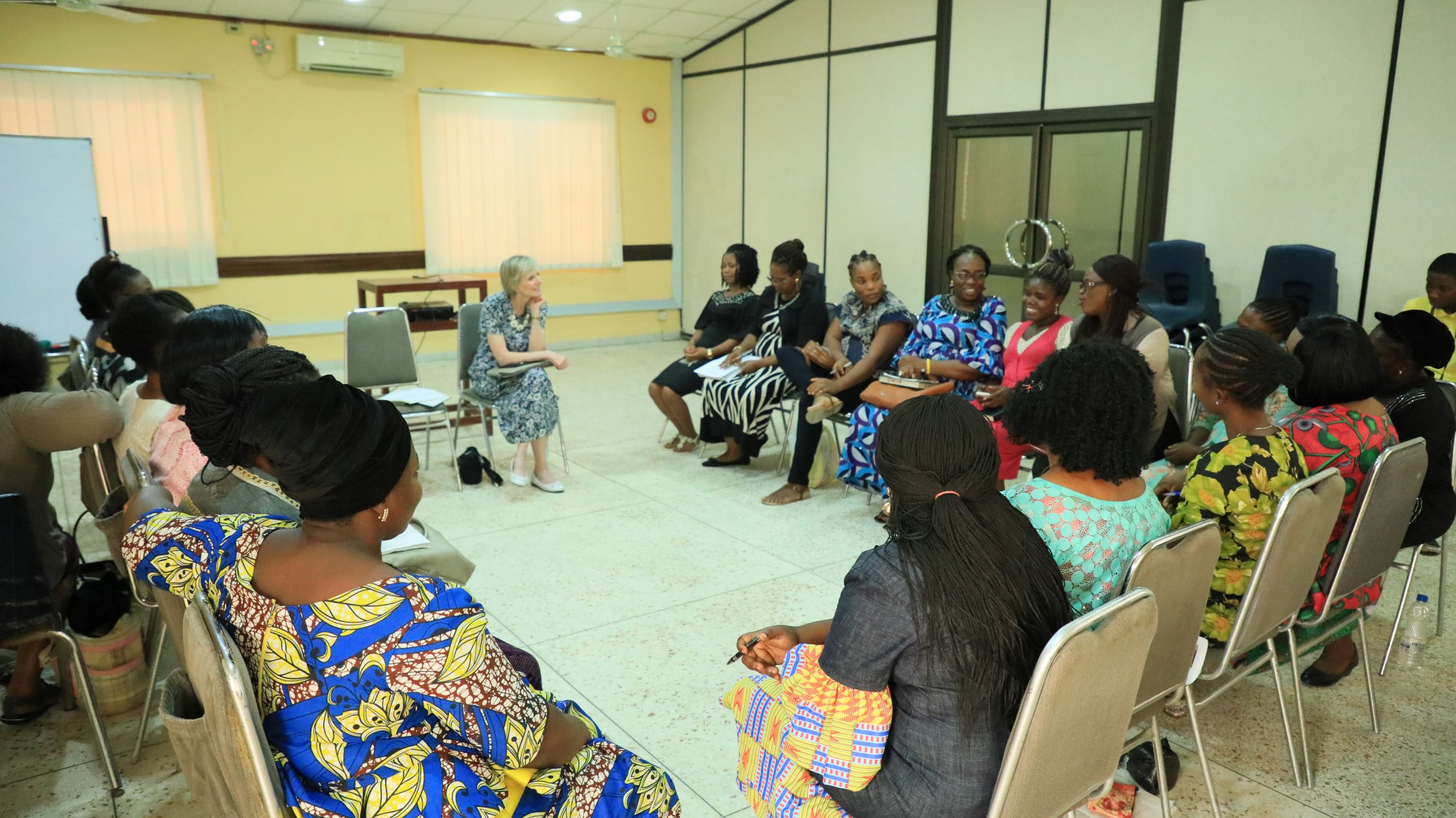 Relief Society members in Lagos, Nigeria, gather with Relief Society general president Sister Jean B. Bingham, Wednesday, March 6, 2019.