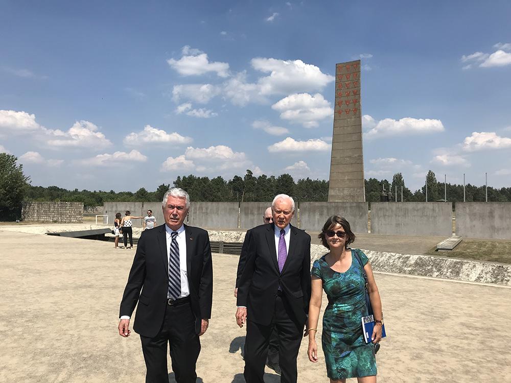 Elder Dieter F. Uchtdorf of the Quorum of the Twelve Apostles and U.S. Sen. Orrin Hatch of Utah visit the Sachsenhausen concentration camp in Oranienburg, Germany, July 5, 2018.