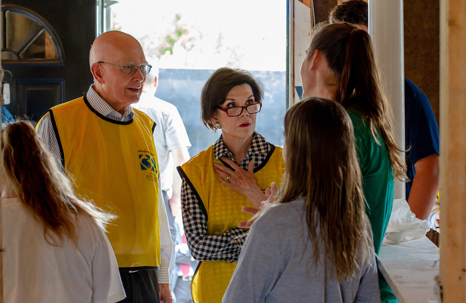 President Dallin H. Oaks, first counselor in the First Presidency of the Church, and his wife, Sister Kristen Oaks, listen as survivors of Hurricane Florence talk about the devastation that hit their North Carolina community.