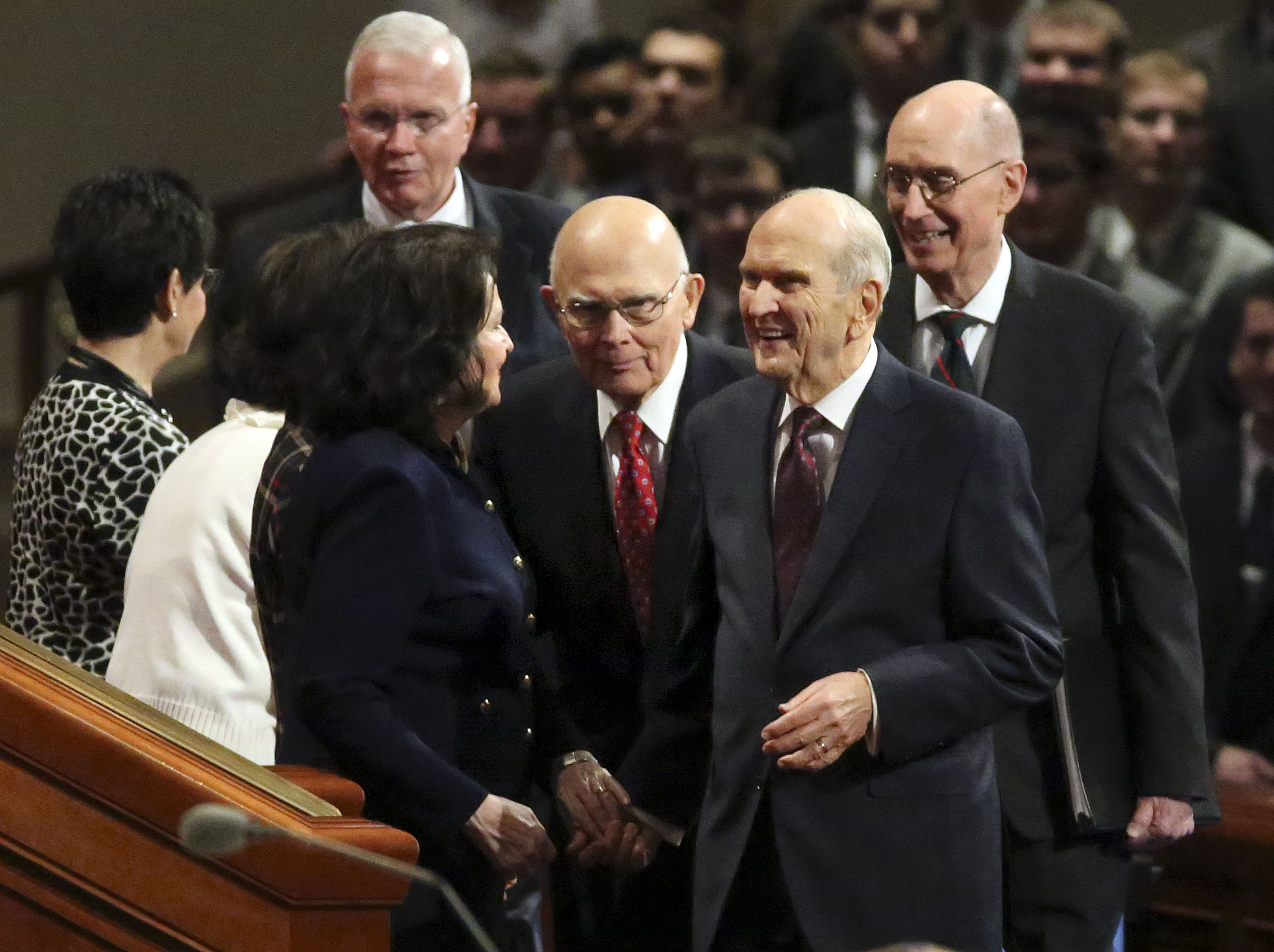 President Russell M. Nelson of The Church of Jesus Christ of Latter-day Saints, President Dallin H. Oaks, first counselor in the First Presidency, and President Henry B. Eyring, second counselor in the First Presidency, enter the Sunday afternoon session of the church's 188th Semiannual General Conference in the Conference Center in downtown Salt Lake City on Sunday, Oct. 7, 2018.