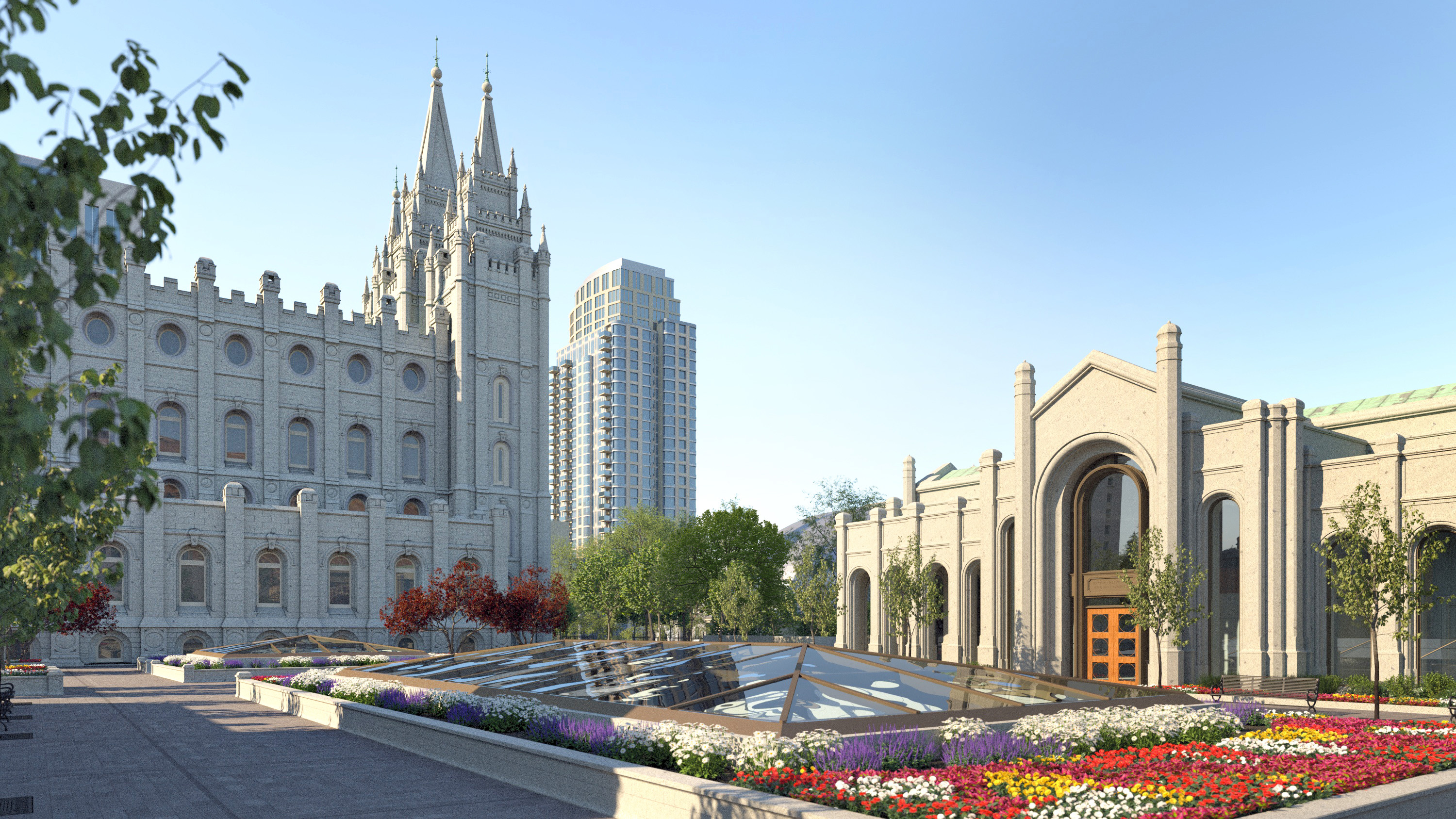 A rendering view inside the north gate of Temple Square shows the top of the skylight over the recommend desk entry.