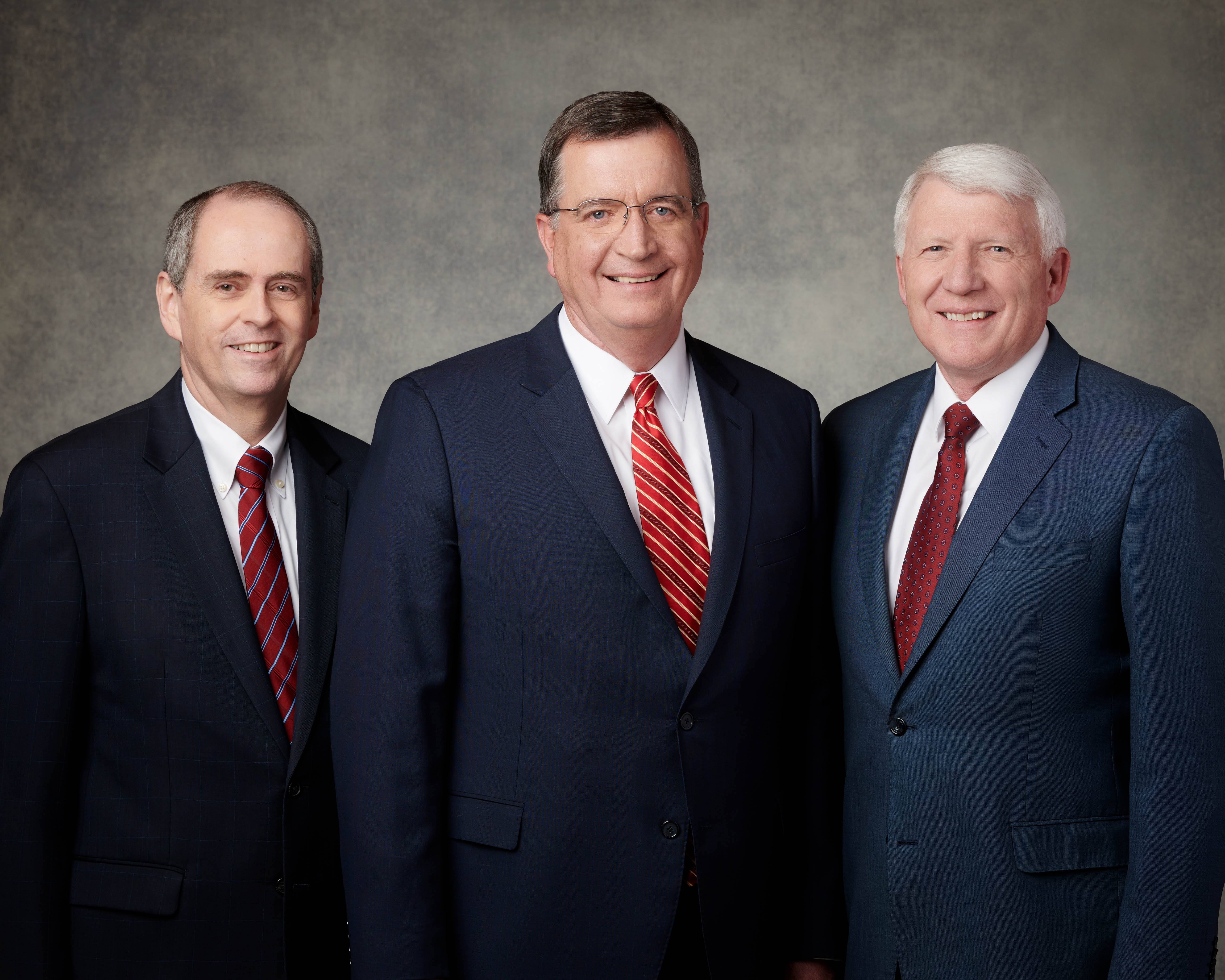 The Sunday School General Presidency of The Church of Jesus Christ of Latter-day Saints, newly sustained April 6, 2019: Brother Milton Camargo, left, first counselor; Brother Mark L. Pace, president; and Jan E. Newman, second counselor.