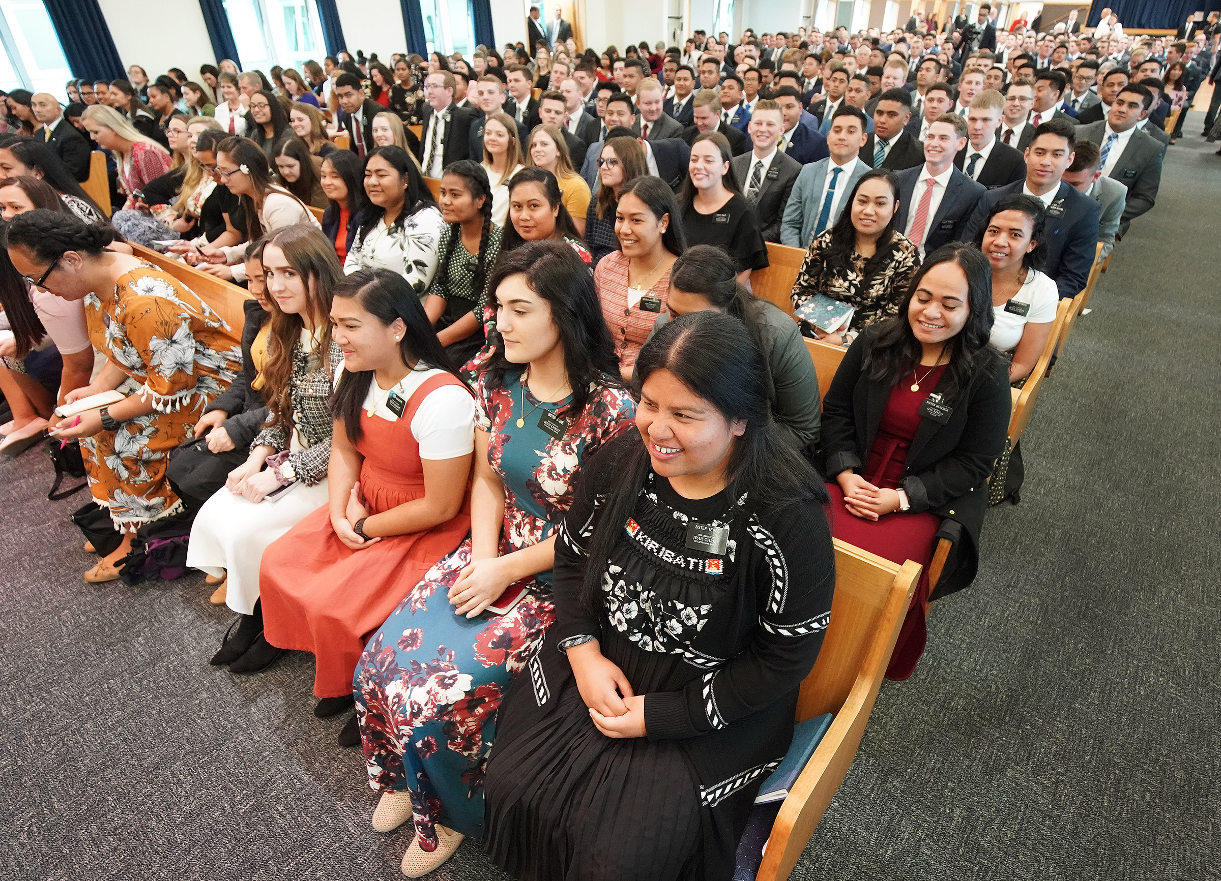 Missionaries listen to President Russell M. Nelson of The Church of Jesus Christ of Latter-day Saints in Auckland, New Zealand, on Tuesday, May 21, 2019.